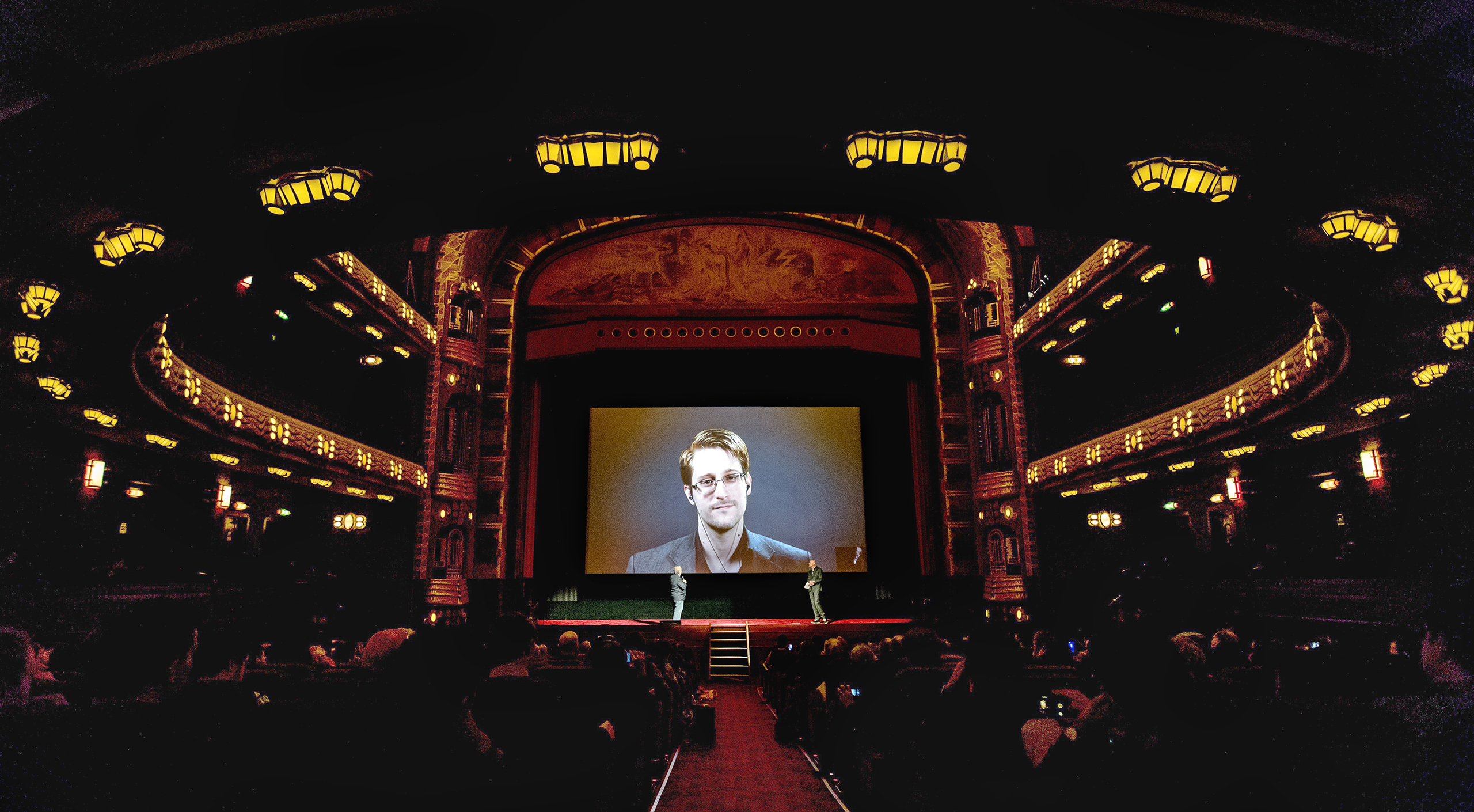Snowden can still appear outside Russia—as at this Amsterdam film festival—but only by video link