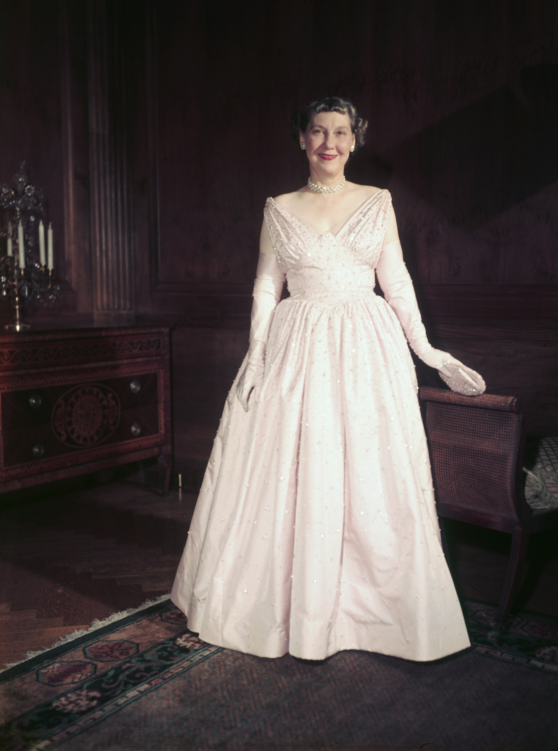 Mamie Eisenhower, Nettie Rosenstein, 1953: This sparkling pink gown boasts 2,000 embroidered rhinestones, and her name was printed on the left instep of her Delman shoes, according to the Smithsonian.