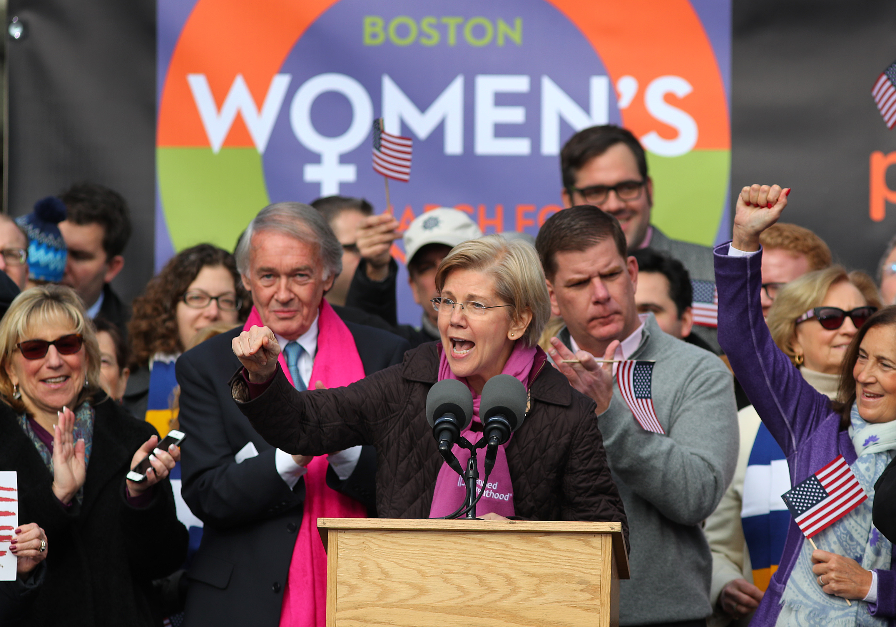 Sen. Elizabeth Warren speaks to thousands of people who filled Boston Common for the Boston Women's March for America on Saturday, Jan. 21, 2017.