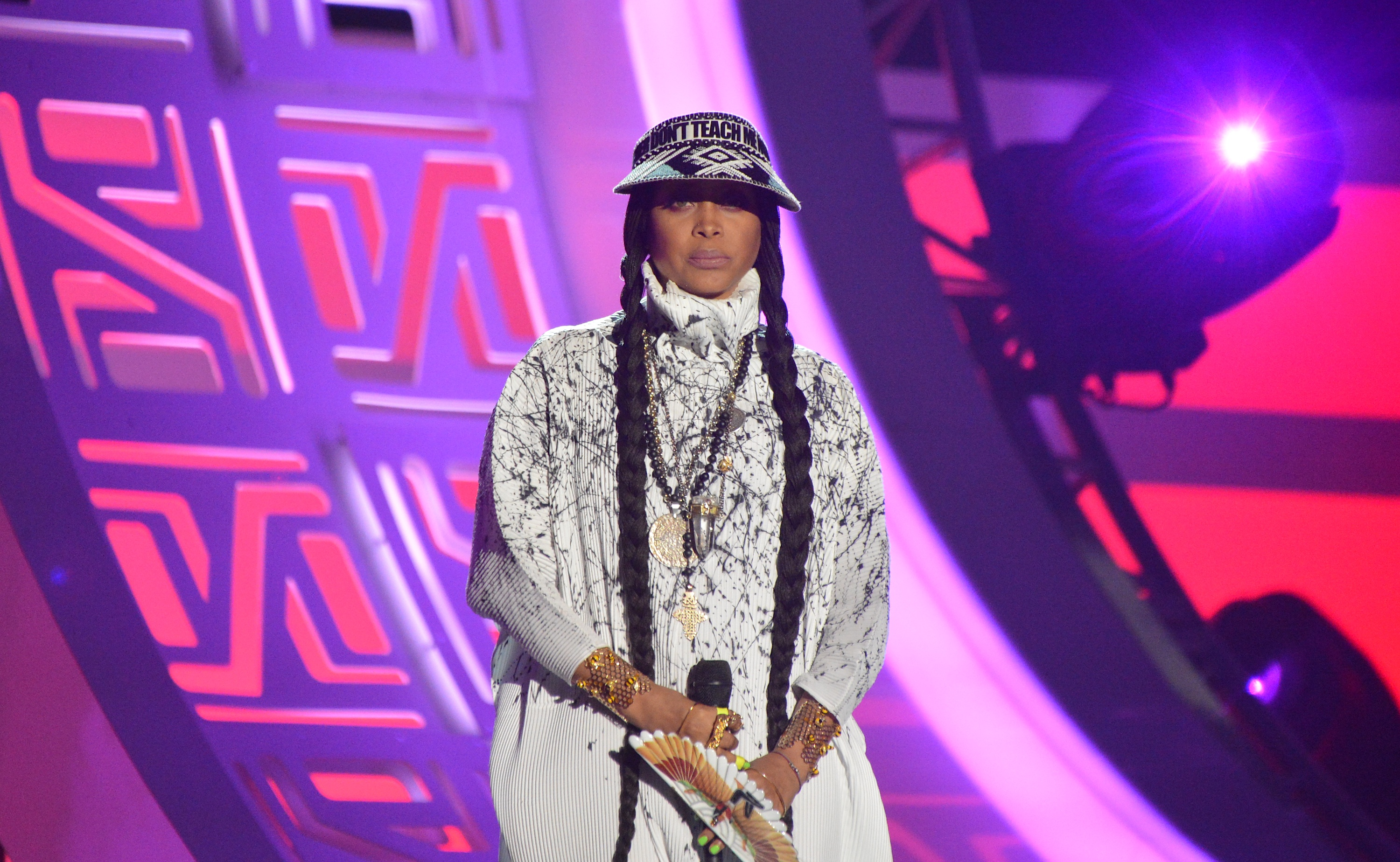 LAS VEGAS, NV - NOVEMBER 06:  Host Erykah Badu speaks onstage during the 2016 Soul Train Music Awards at the Orleans Arena on November 6, 2016 in Las Vegas, Nevada.  (Photo by Mindy Small/FilmMagic)