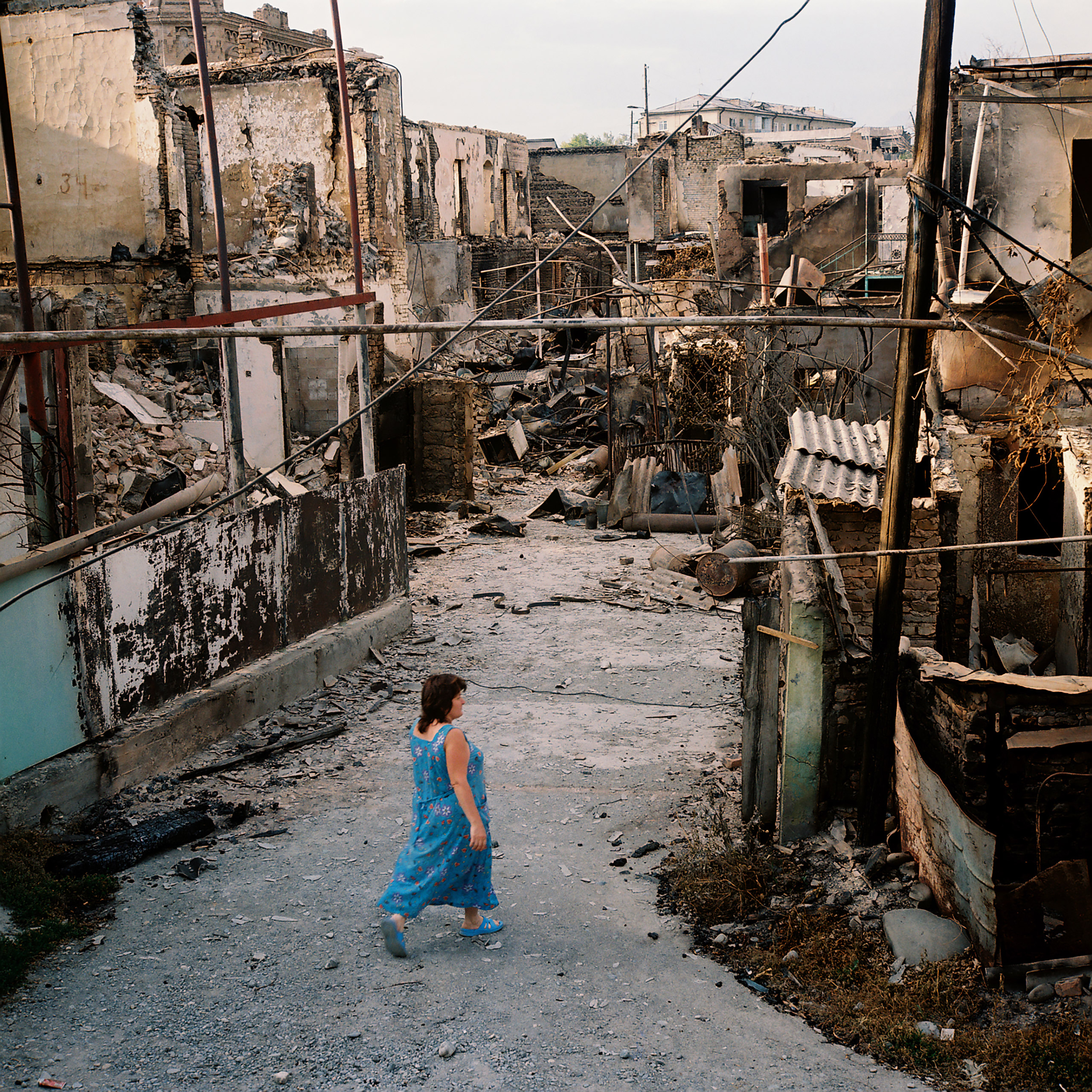 Bombed buildings on Telman street in the outskirts of Tshinvali, South Ossetia, August 16, 2008.
