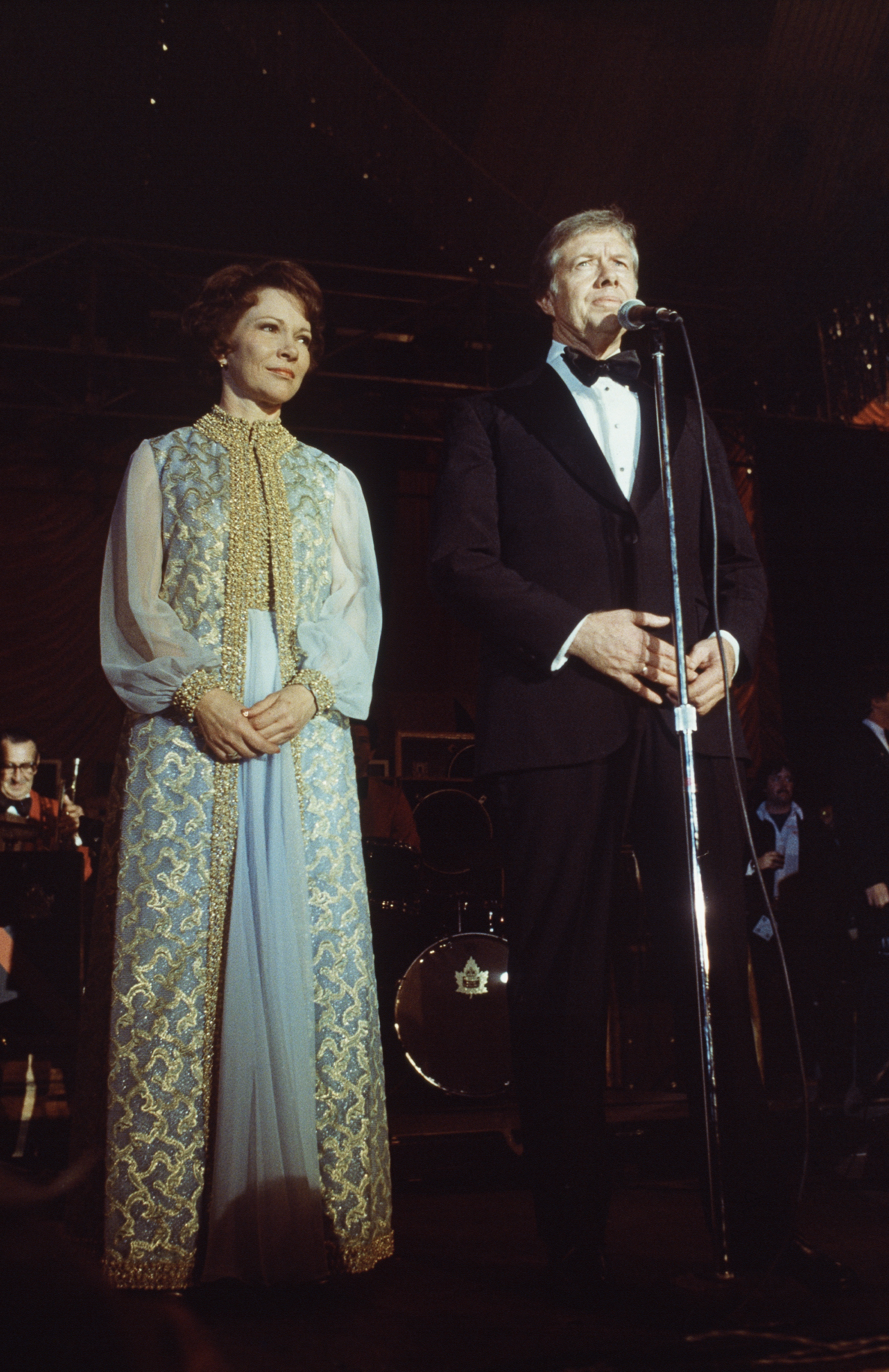 Rosalynn Carter, Mary Matise for Jimmae, 1977: She sported a coat with gold embroidery over a sleeveless, blue chiffon gown with gold trim -- the same dress she wore when her husband became governor in 1971.