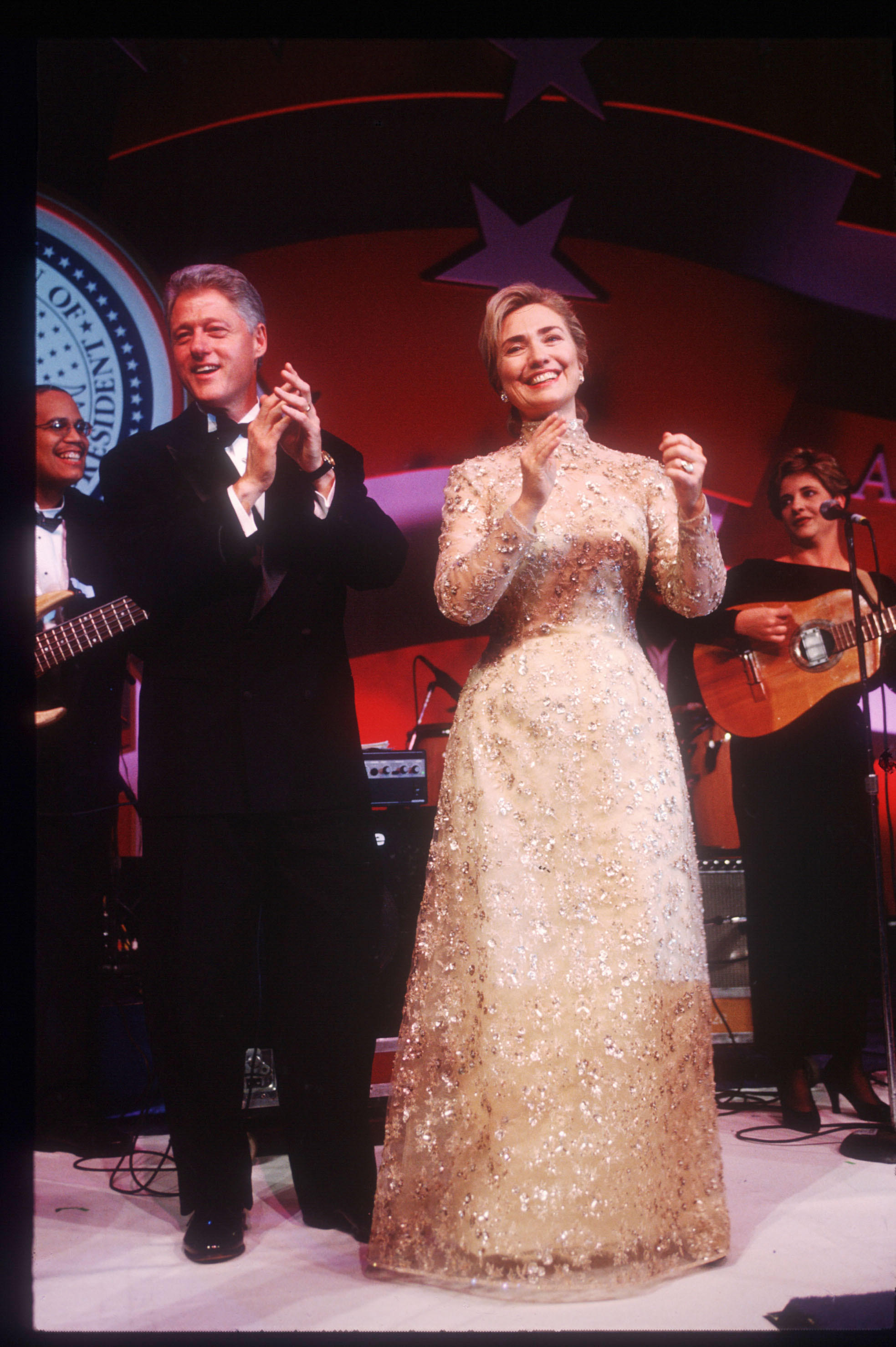 Hillary Clinton, Oscar de la Renta, 1997: Clinton wore this gold lace dress in 1997, but she first met the designer at the Kennedy Center in Dec. 1993, when he pointed out that she was wearing one of his dresses, which she claims she did not realize at the time. De la Renta has described his  friend  Hillary as  a symbol of where women want to go.