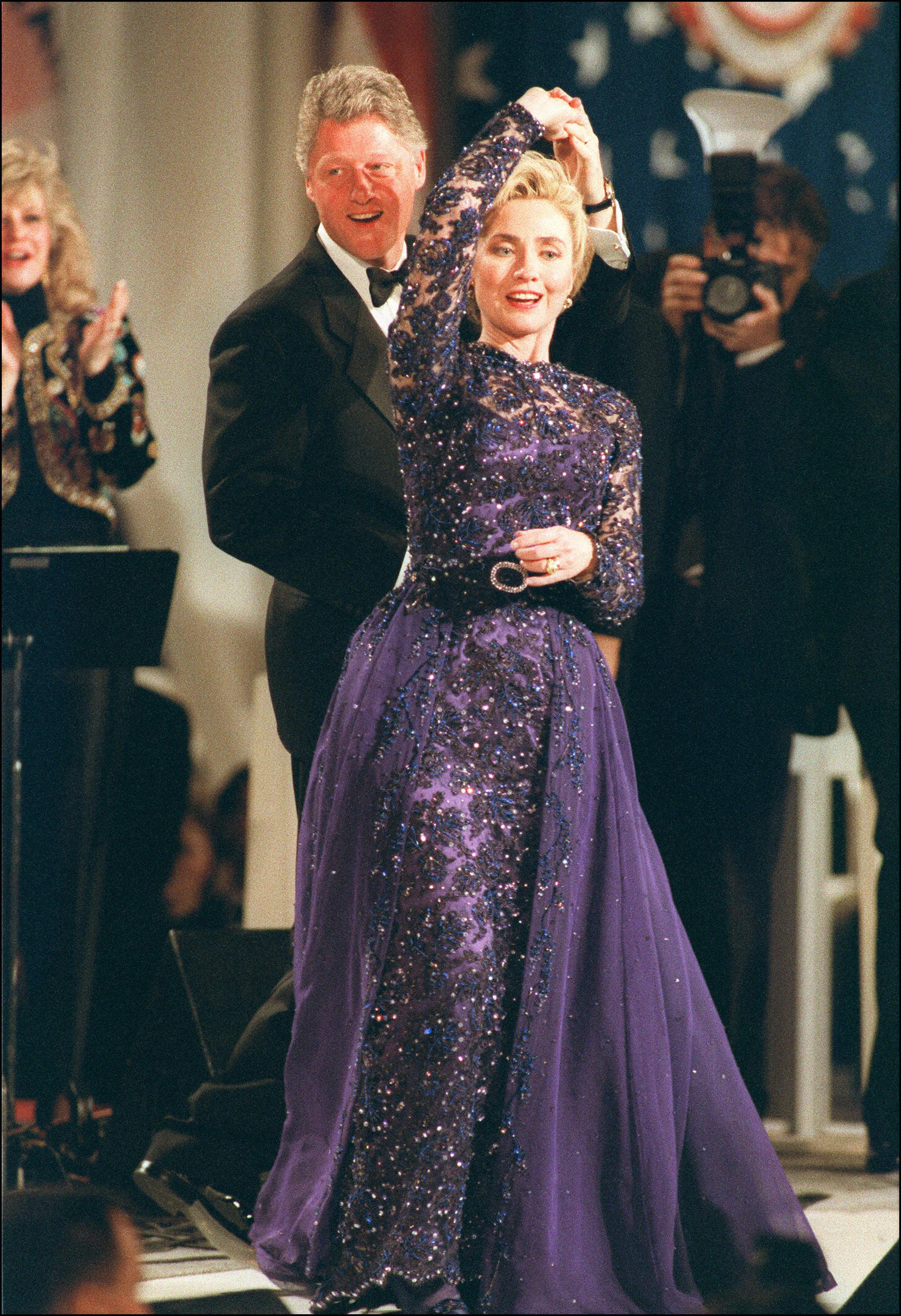 Hillary Clinton, Sarah Phillips, 1993: This violet beaded lace gown was made by a little-known designer whose work Clinton reportedly first noticed in a Little Rock boutique.
