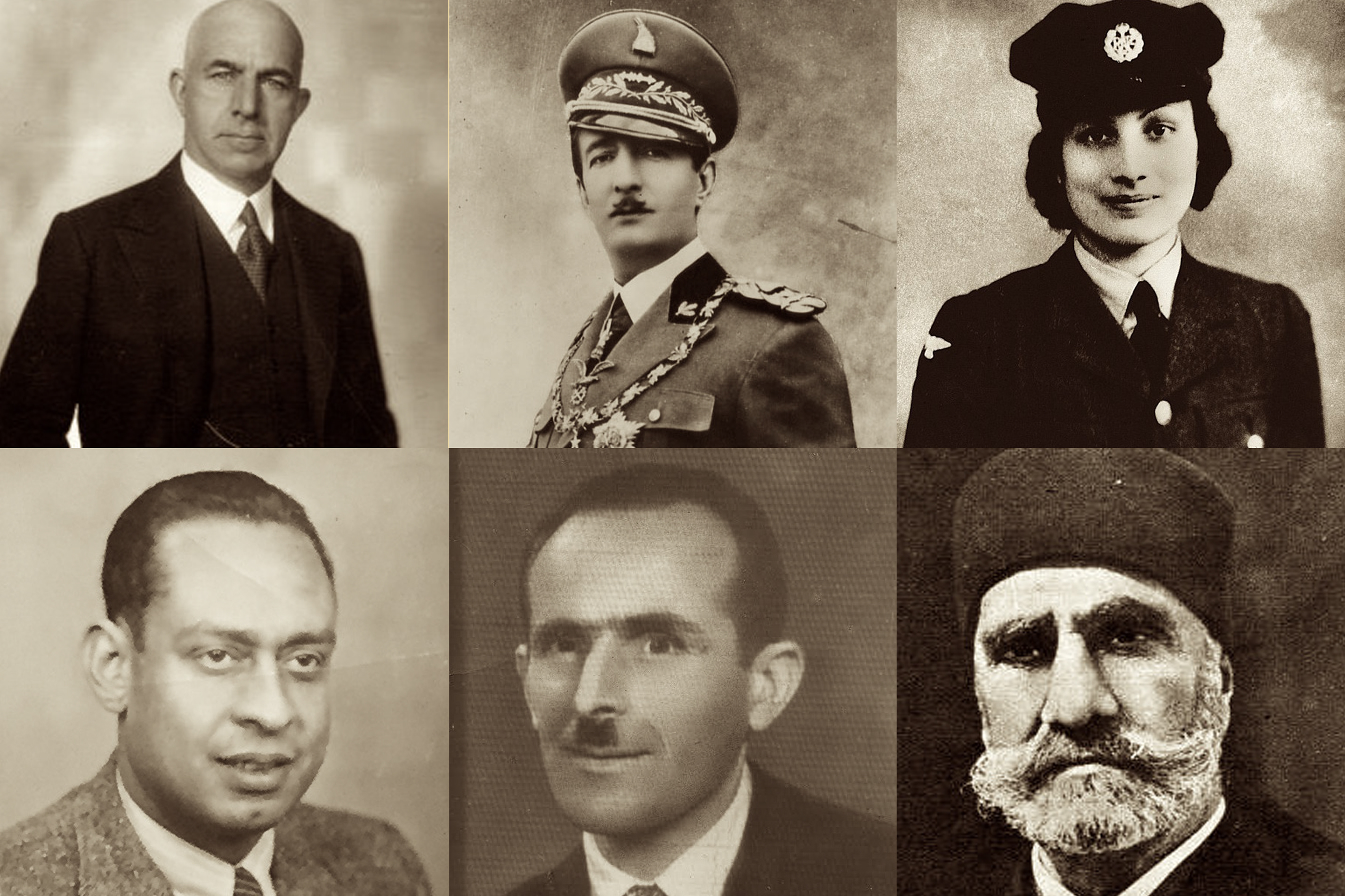 (Top row, left to right) Behic Erkin, King Zog I of Albania, Noor Inayat Khan; (Bottom row, left to right) Mohamed Helmy, Rifat Abdyl Hoxha, Ahmed Pasha Bey
