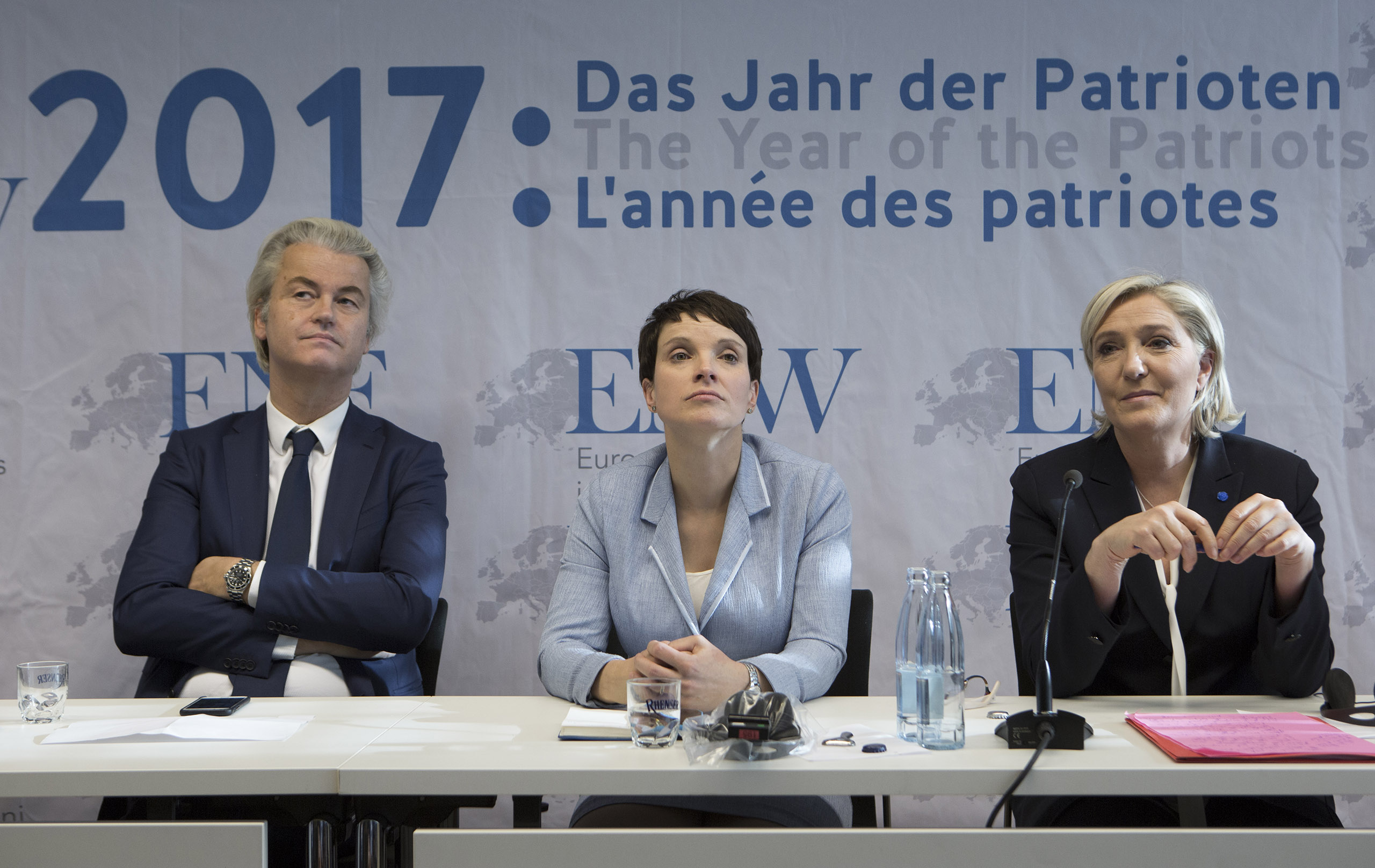 From left: Geert Wilders, chairman of the Dutch Party of Freedom; Frauke Petry, chairwoman of the Alternative for Germany party; and Marine Le Pen, chairwoman of the French National Front, attend a press conference in Koblenz, Germany, on Jan. 21, 2017