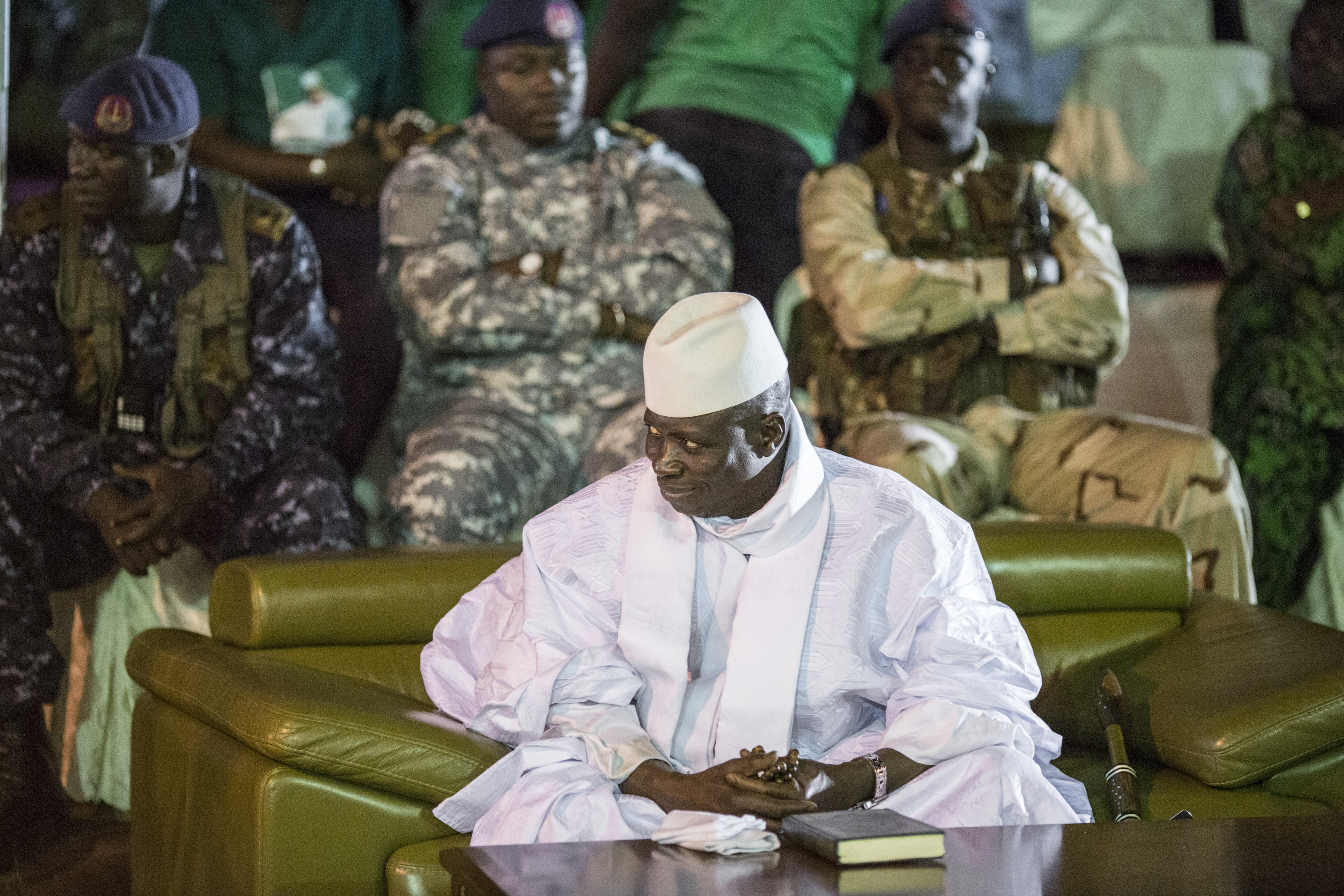 Incumbent Gambian President Yahya Jammeh looks on in Banjul on November 29, 2016, during the closing rally of the electoral campaign of the Alliance for Patriotic Reorientation and Construction (APRC).