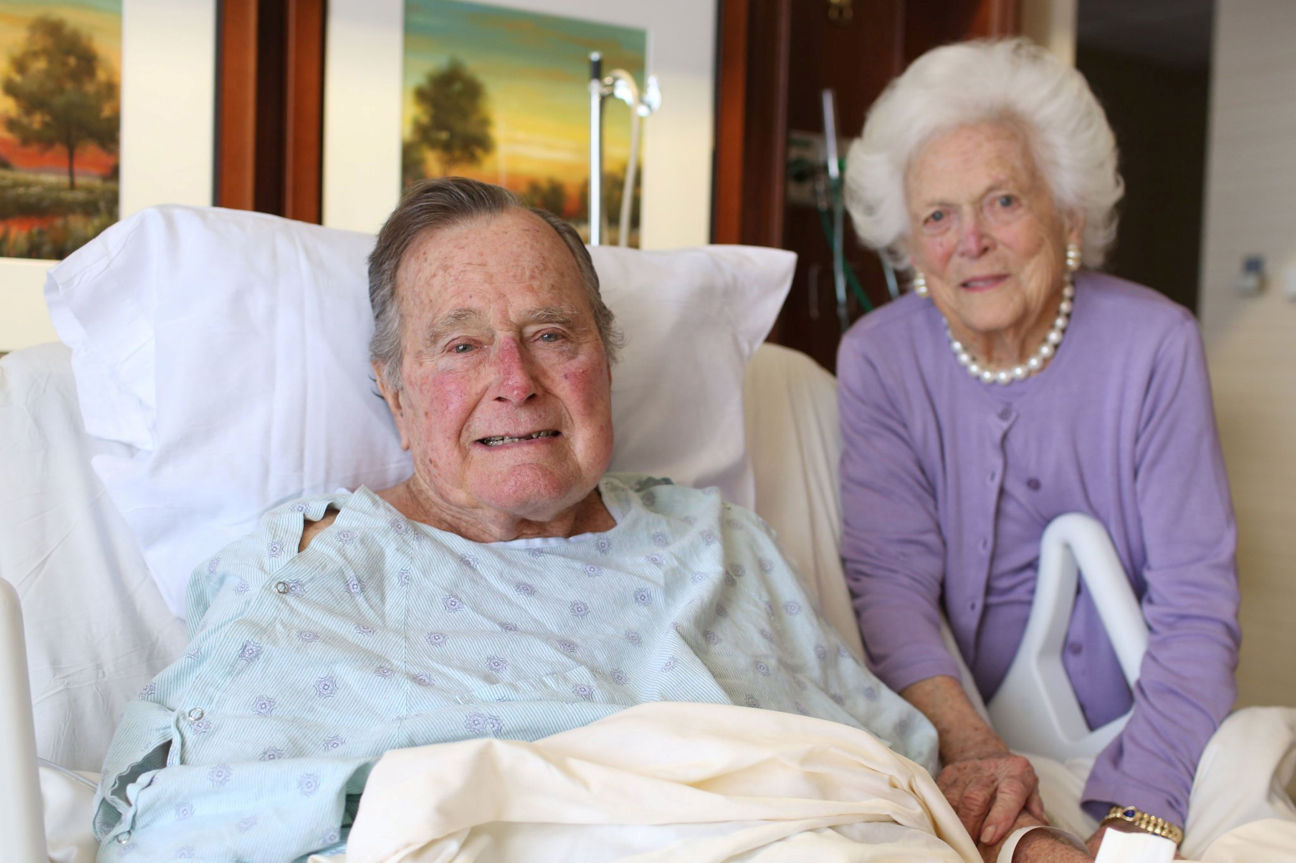 Former President George H.W. Bush and his wife Barbara Bush are pictured in Houston Methodist Hospital in Houston on Jan. 23, 2017.
