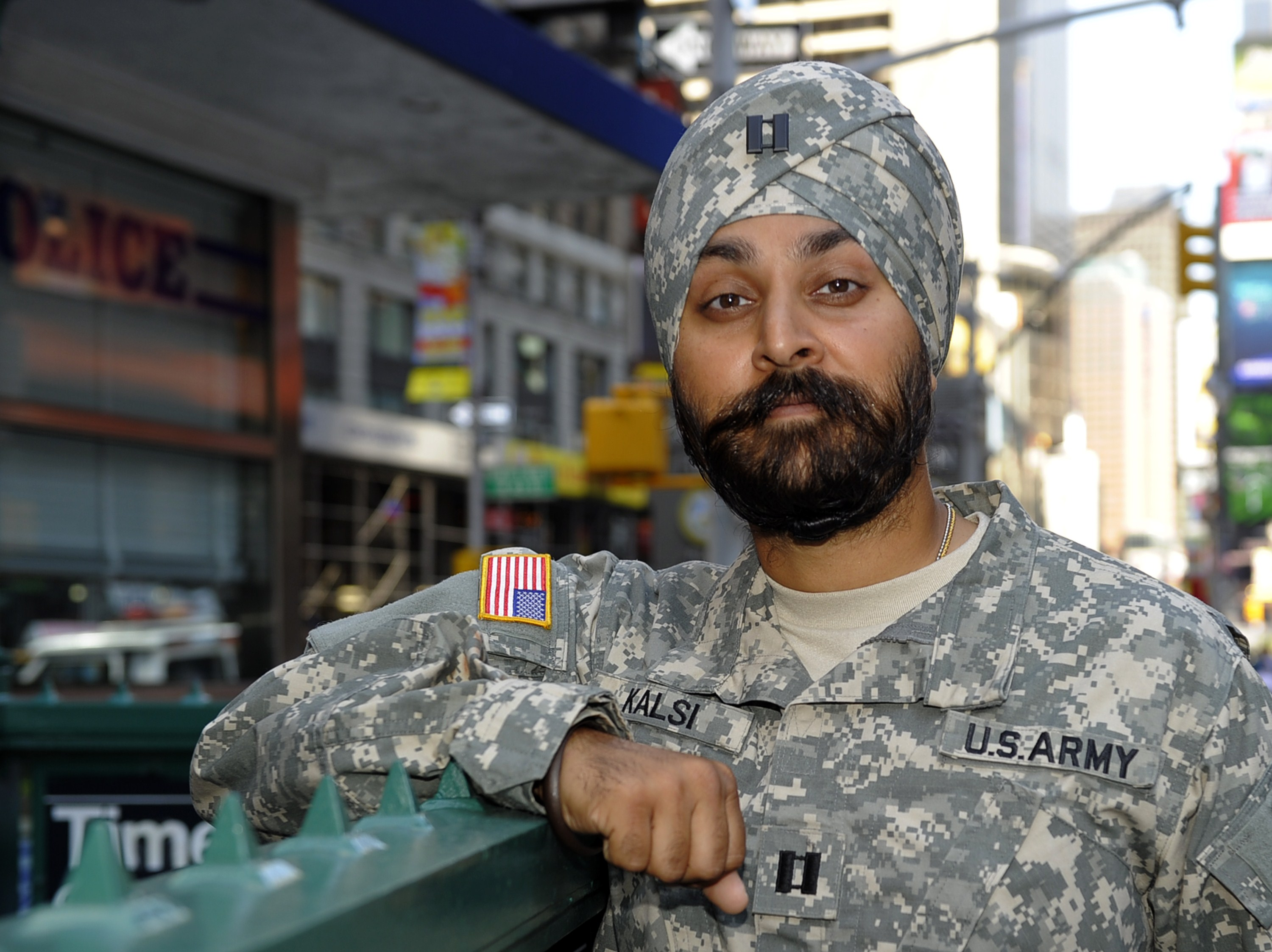 U.S. Army Captain Kamaljeet Singh Kalsi poses in Times Square, New York City, on Sept. 14, 2010