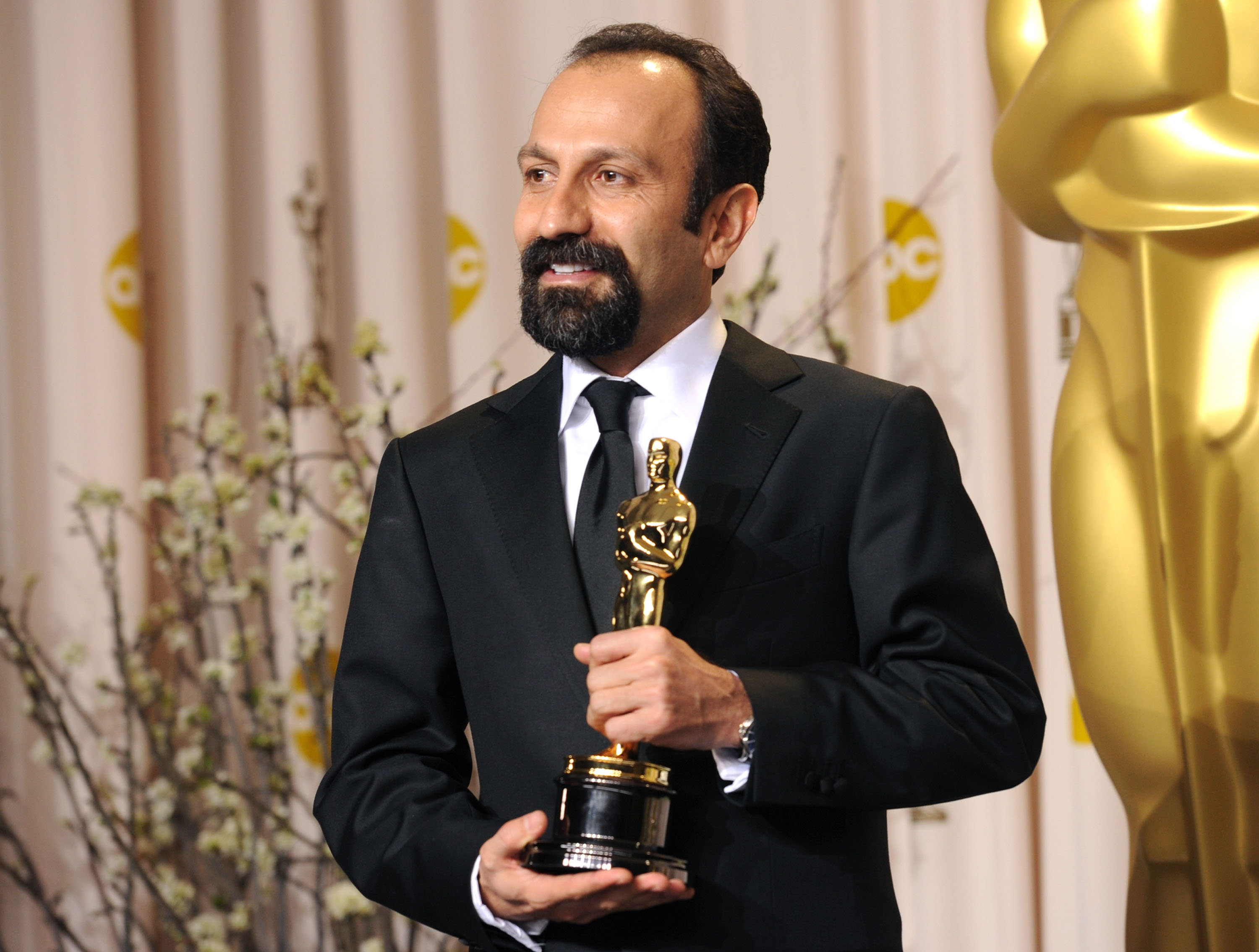 ilmmaker Asghar Farhadi, winner of the Best Foreign Film Award for 'A Separation,' poses in the press room at the 84th Annual Academy Awards held at the Hollywood & Highland Center on February 26, 2012 in Hollywood, California.