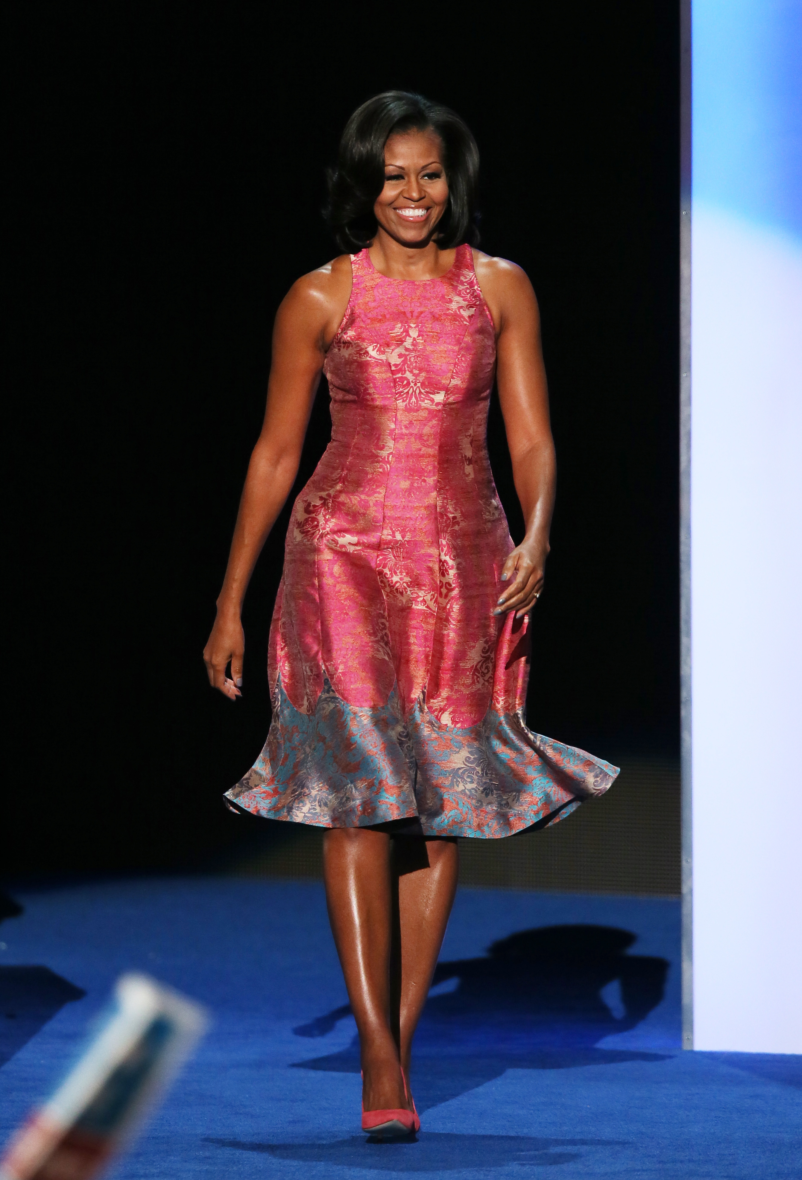 First lady Michelle Obama takes the stage during day one of the Democratic National Convention at Time Warner Cable Arena on September 4, 2012 in Charlotte, North Carolina. (Photo by Alex Wong/Getty Images)