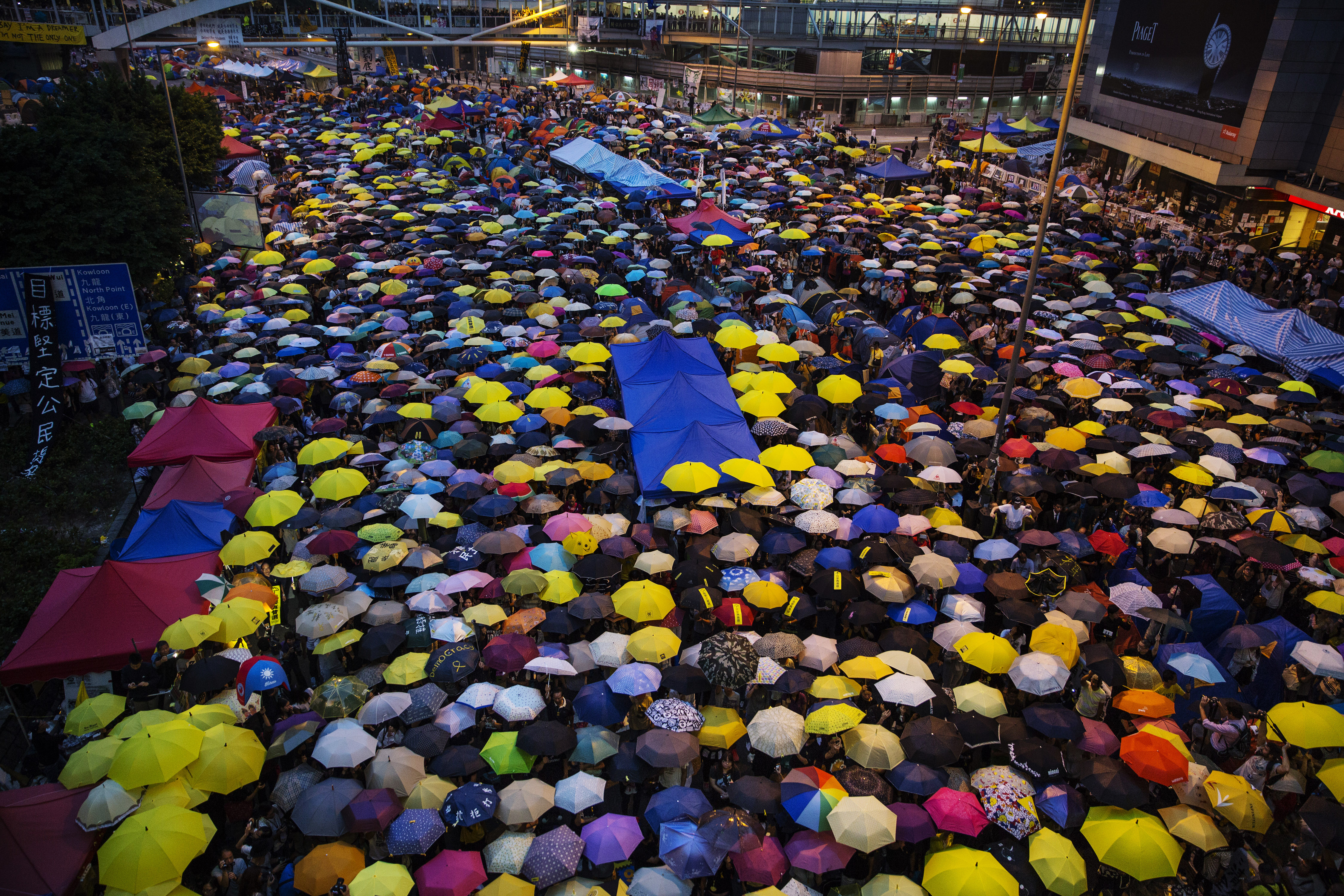 Tens of thousands protest one month after the Hong Kong police used tear gas to disperse protesters Oct. 28, 2014 in Hong Kong.