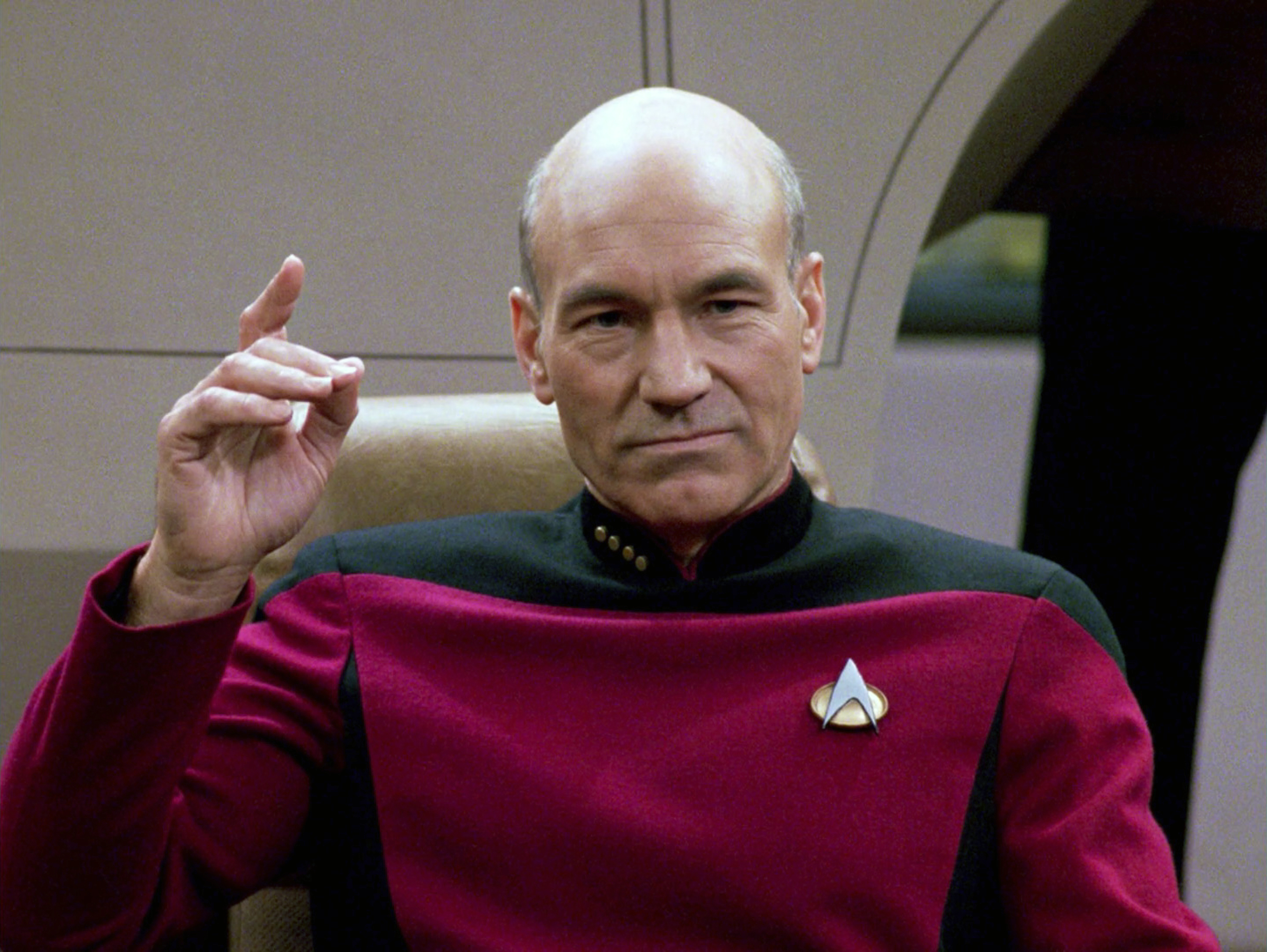 Patrick Stewart as Captain Jean-Luc Picard in the STAR TREK: THE NEXT GENERATION episode,  The Hunted.