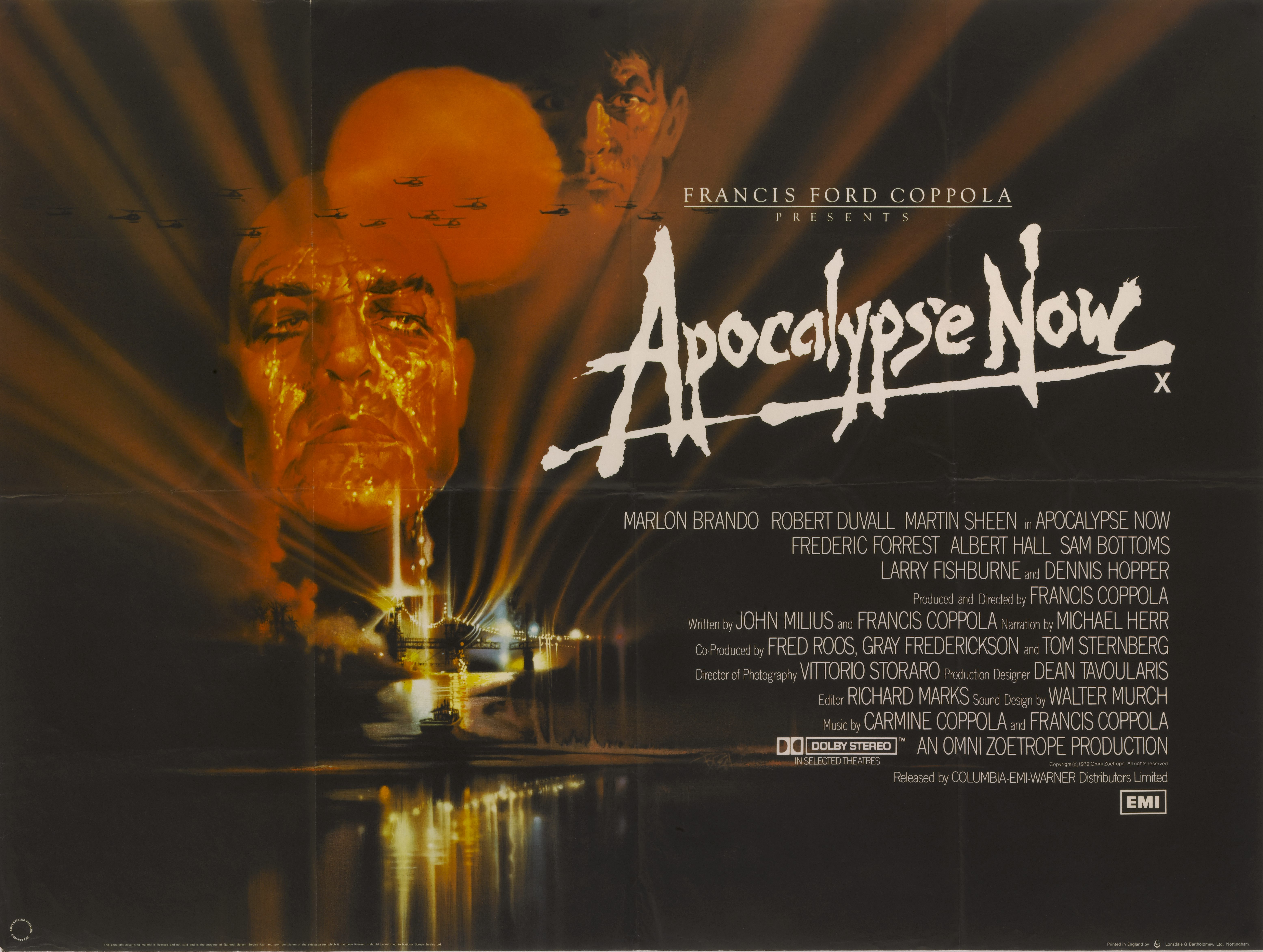 A movie poster signed by Francis Ford Coppola  for his 1979 Vietnam War drama 'Apocalypse Now' starring Marlon Brando and Martin Sheen.