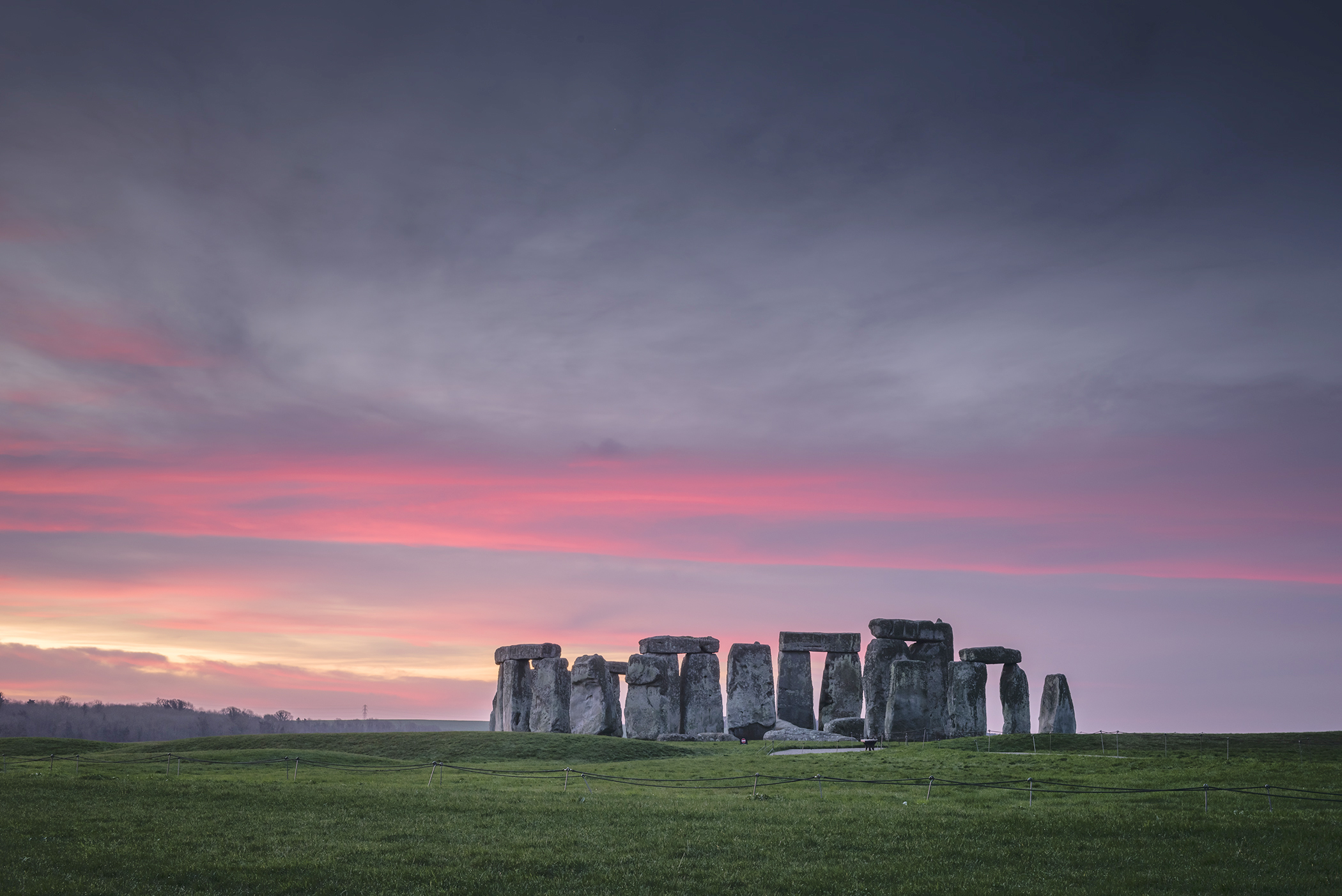 Picturesque view of Stonehenge during dawn on December 28, 2015 in Salisbury, England.