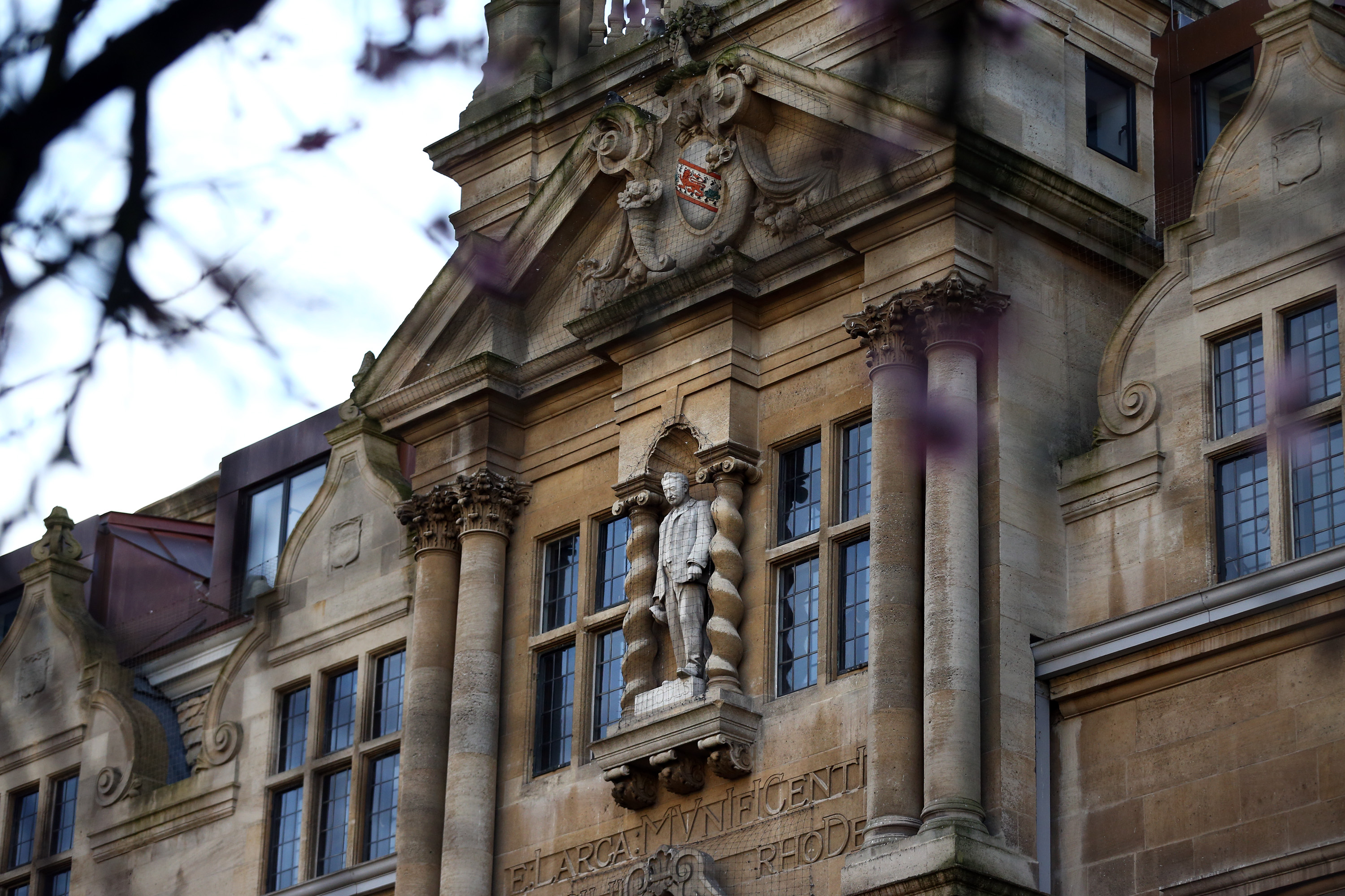 A statue of Cecil Rhodes is seen at Oriel College on February 2, 2016 in Oxford University, England.