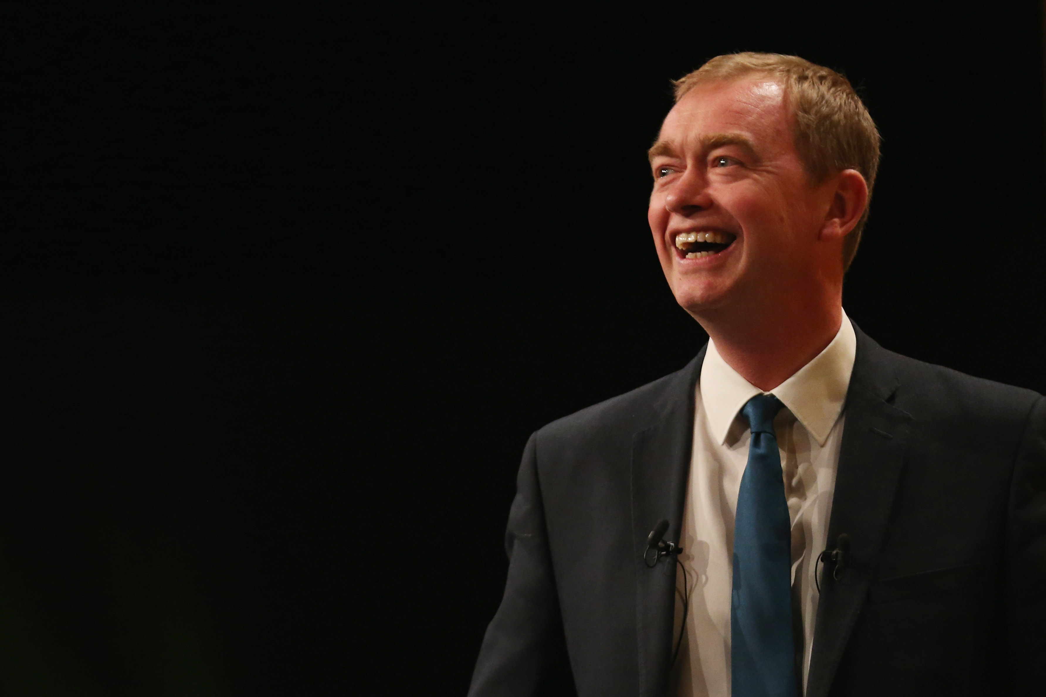 Liberal Democrat leader Tim Farron delivers his keynote speech to delgates during the Liberal Democrats spring conference at York Barbican in York, England, on March 13, 2016.