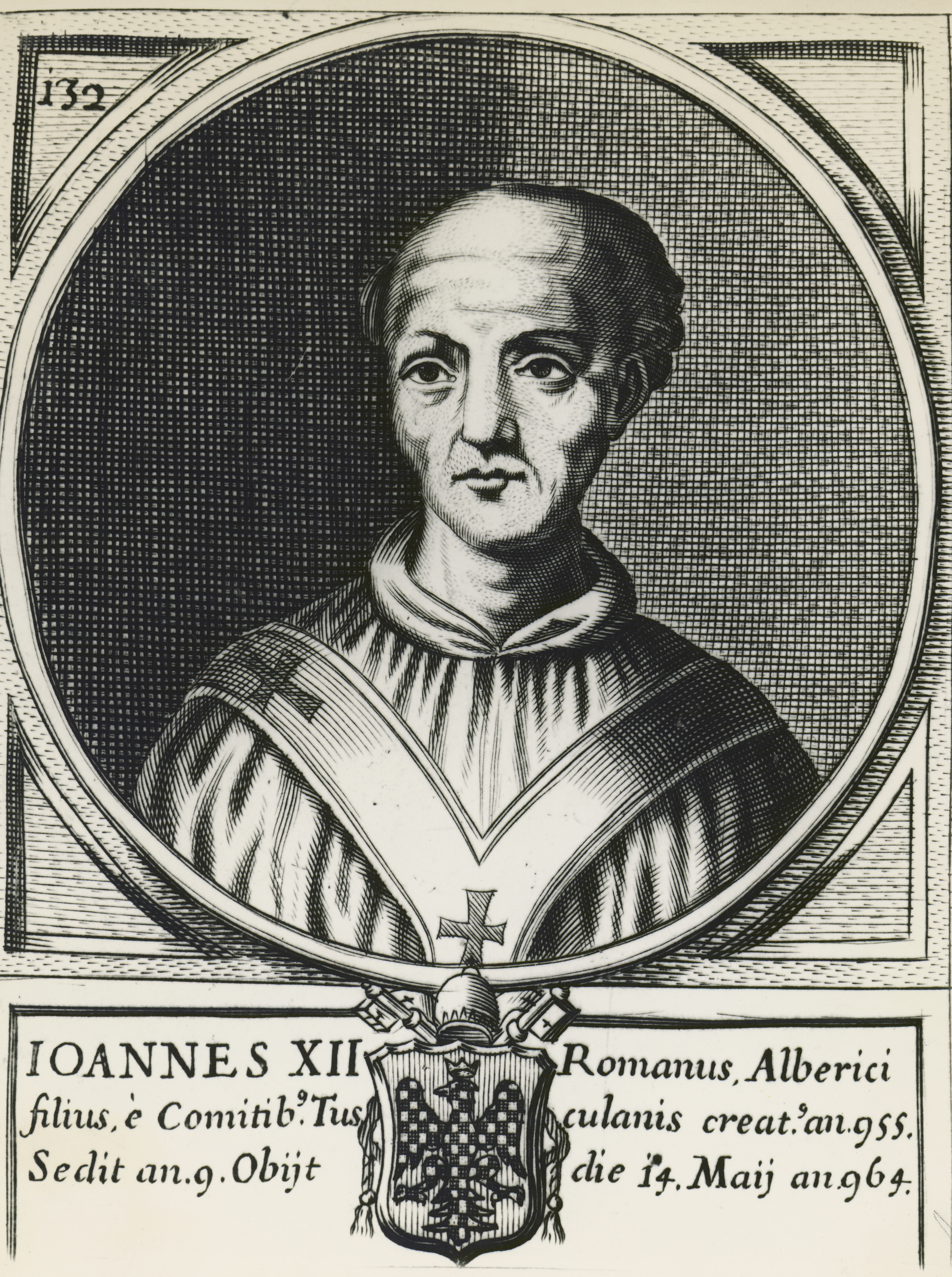 ITALY - DECEMBER 16: Portrait of Pope John XII, born Octavianus of Tusculum (937-964), engraving. Italy, 10th century. (Photo by DeAgostini/Getty Images)