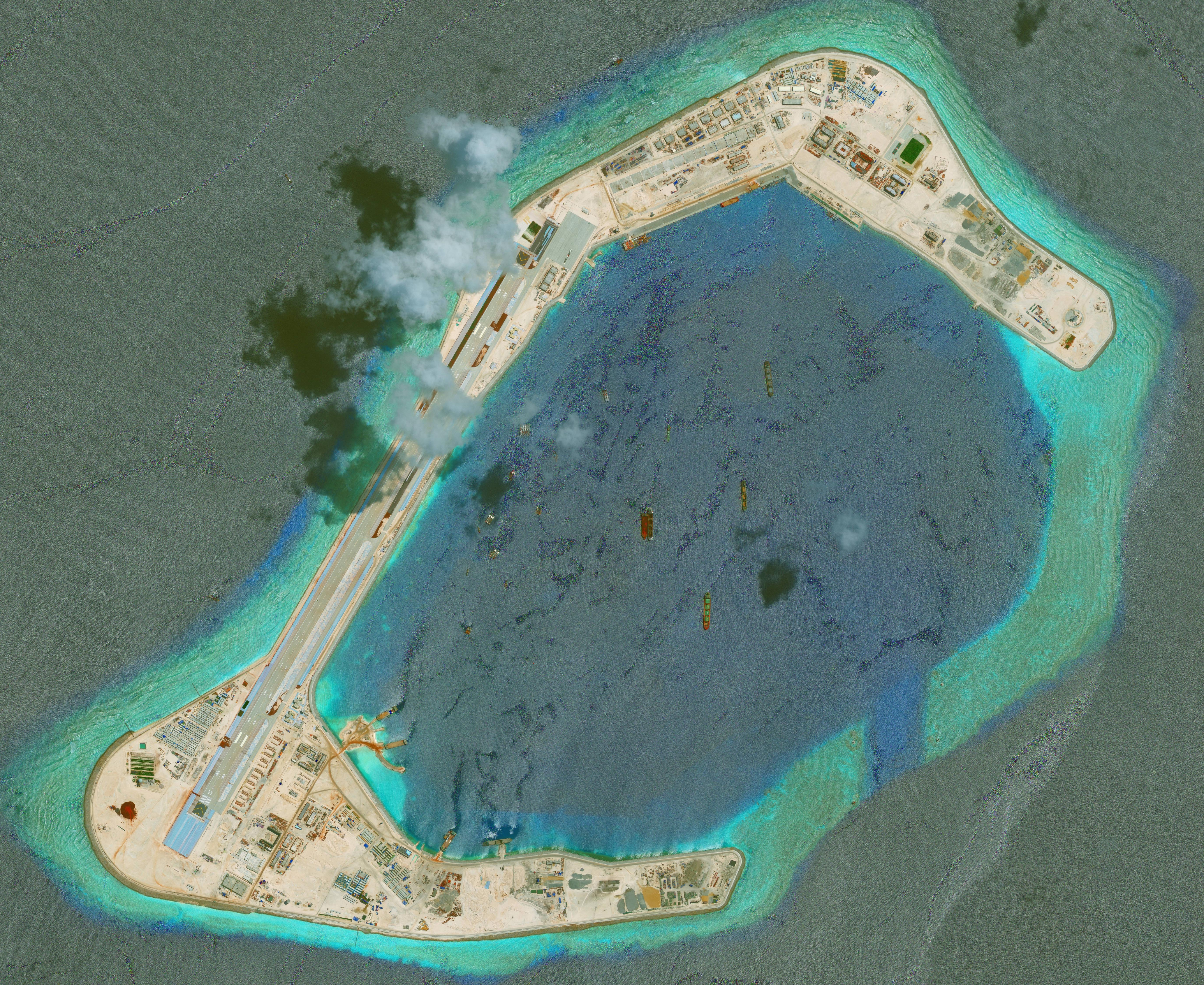 DigitalGlobe imagery of the Subi Reef in the South China Sea, a part of the Spratly Islands group.