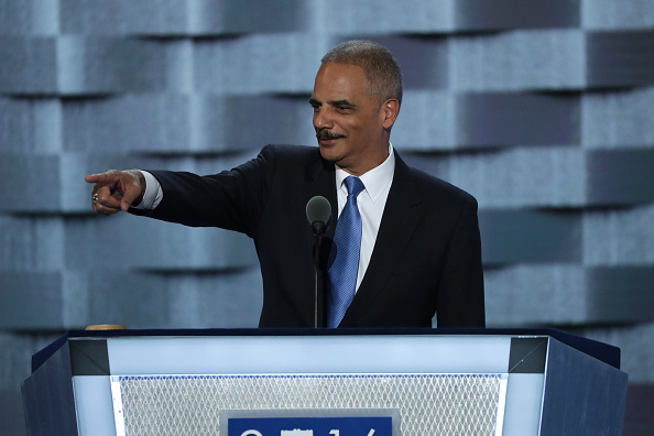 Former U.S. Attorney General Eric Holder delivers remarks on the second day of the Democratic National Convention at the Wells Fargo Center, July 26, 2016 in Philadelphia, Pennsylvania.