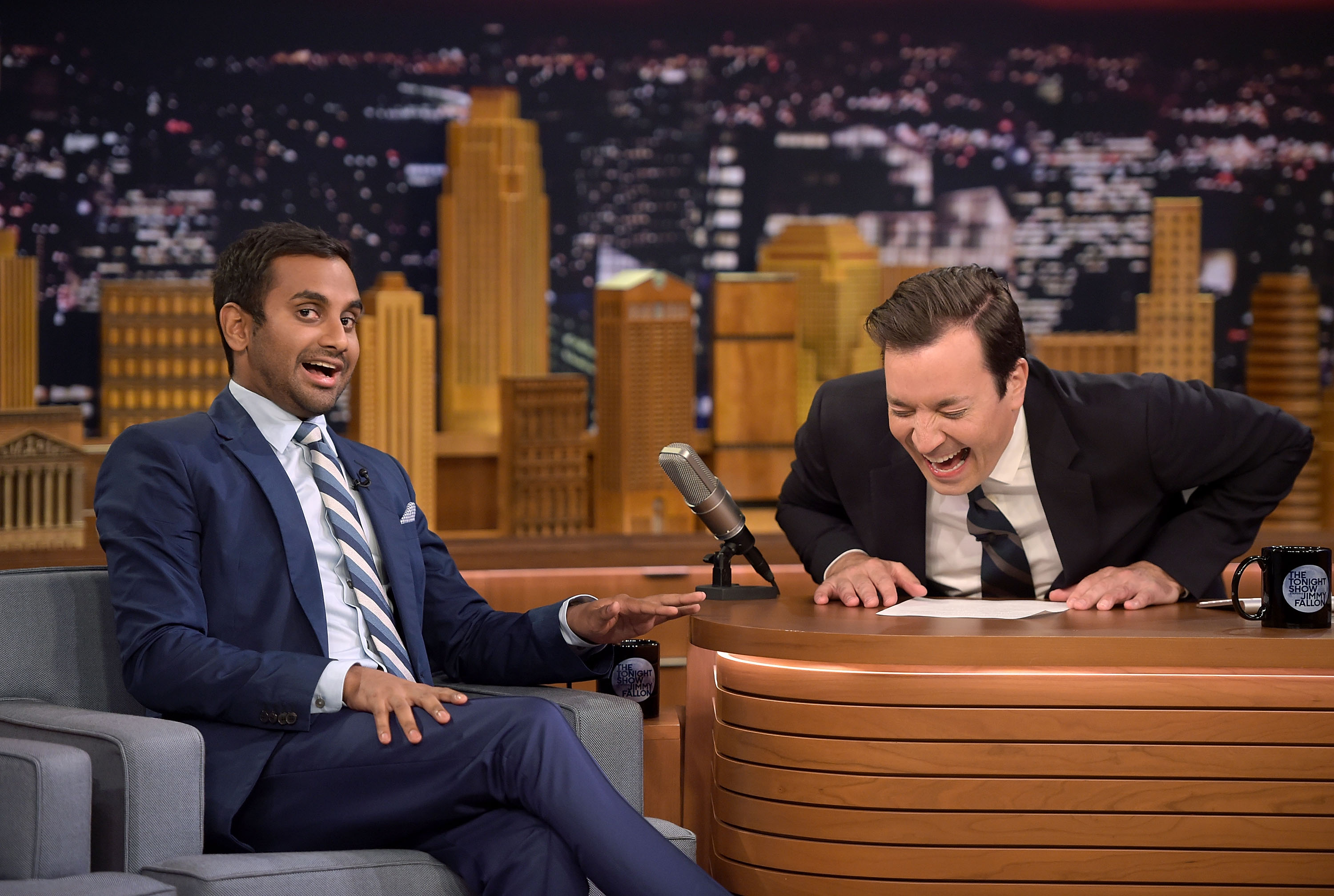 NEW YORK, NY - AUGUST 03:  Actor Aziz Ansari and host Jimmy Fallon appear on  The Tonight Show Starring Jimmy Fallon  at Rockefeller Center on August 3, 2016 in New York City.  (Photo by J. Kempin/Getty Images for NBC)