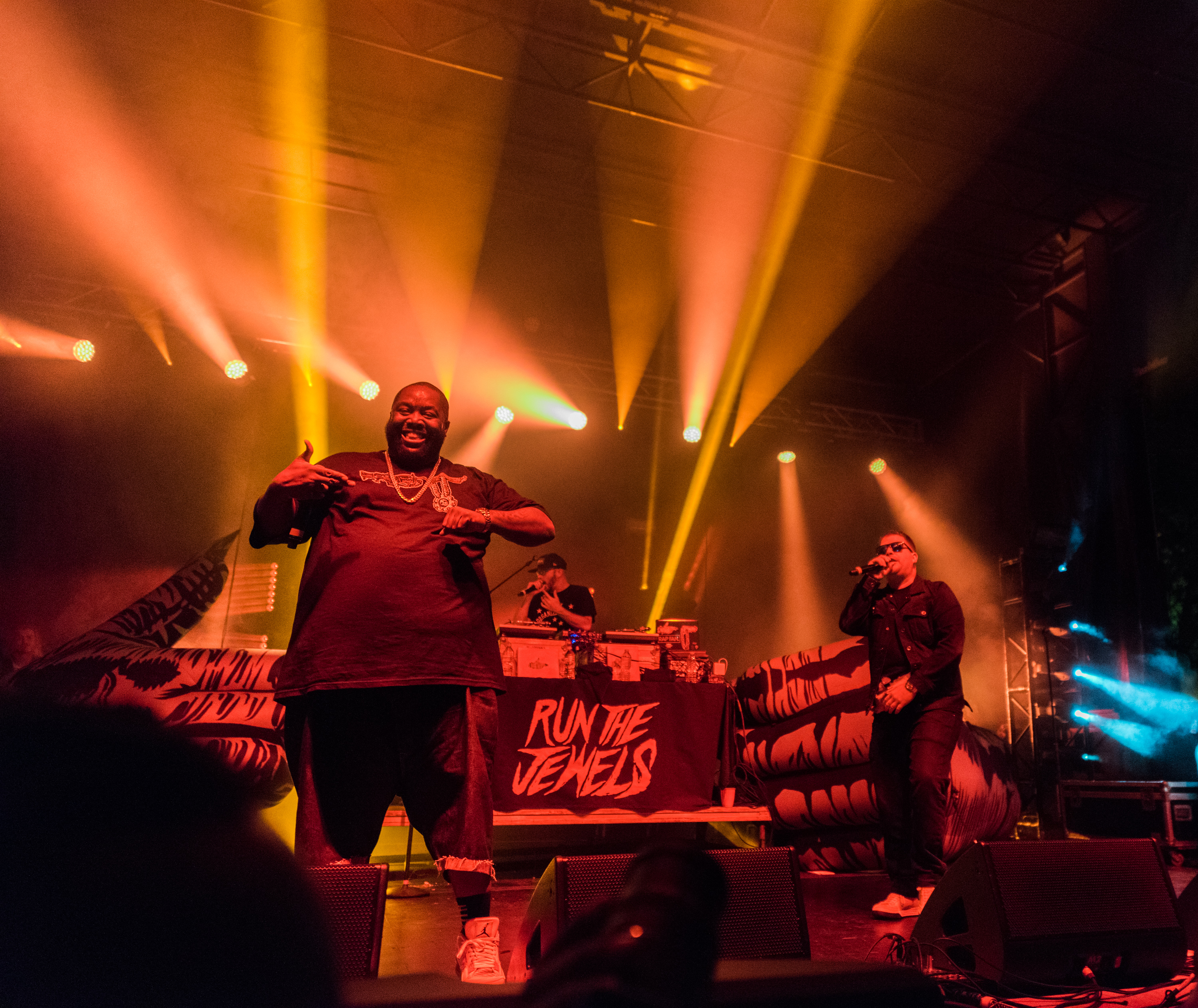 Killer Mike (L) and El-P of Run The Jewels perform on stage at Project Pabst in East Atlanta Village on October 1, 2016 in Atlanta, Georgia.