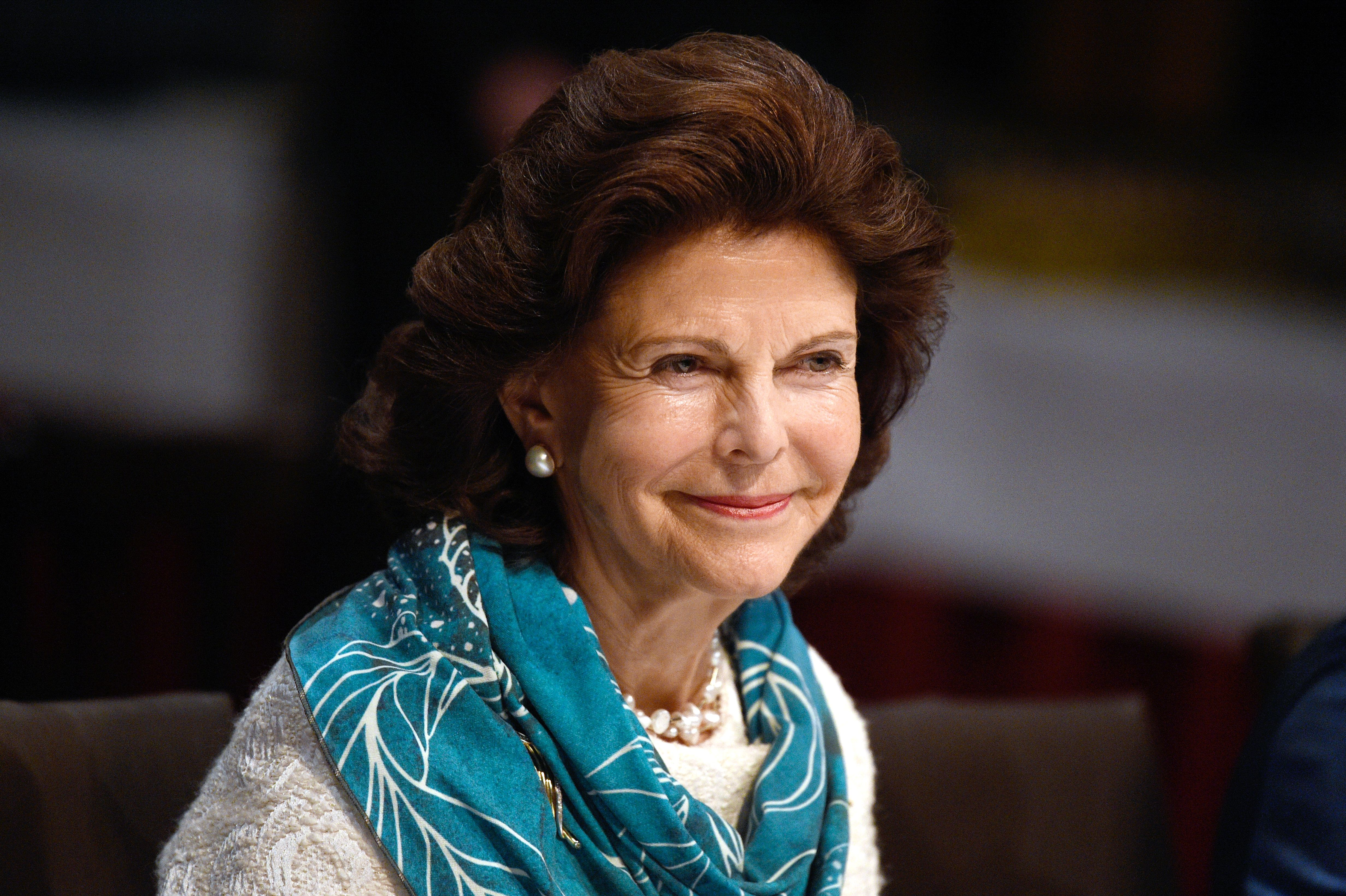 Queen Silvia of Sweden at the Chamaeleon Theatre in Berlin on Oct. 7, 2016.