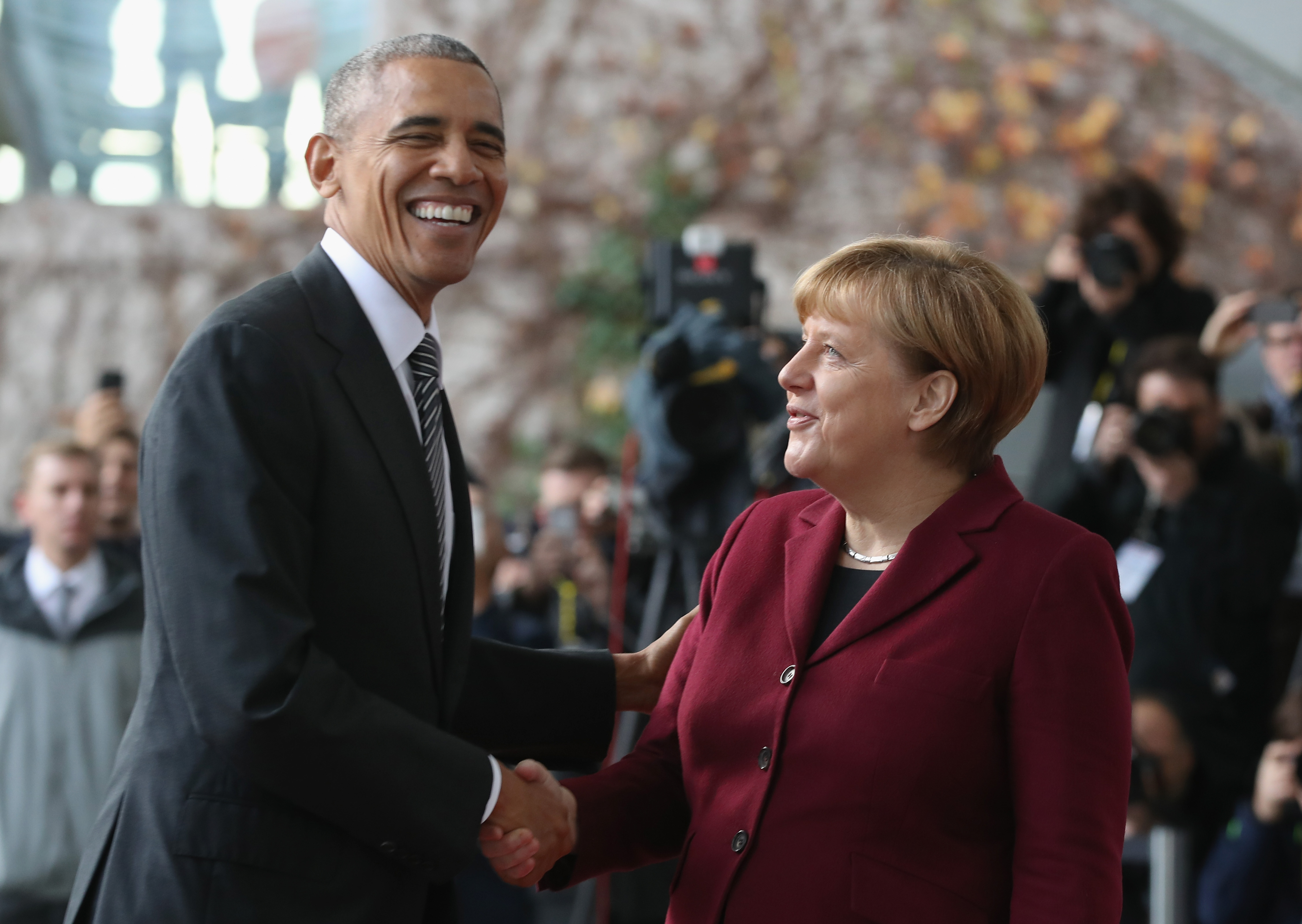 German Chancellor Angela Merkel greets U.S. President Barack Obama upon his arrival for talks with European leaders at the Chancellery on November 18, 2016 in Berlin, Germany.