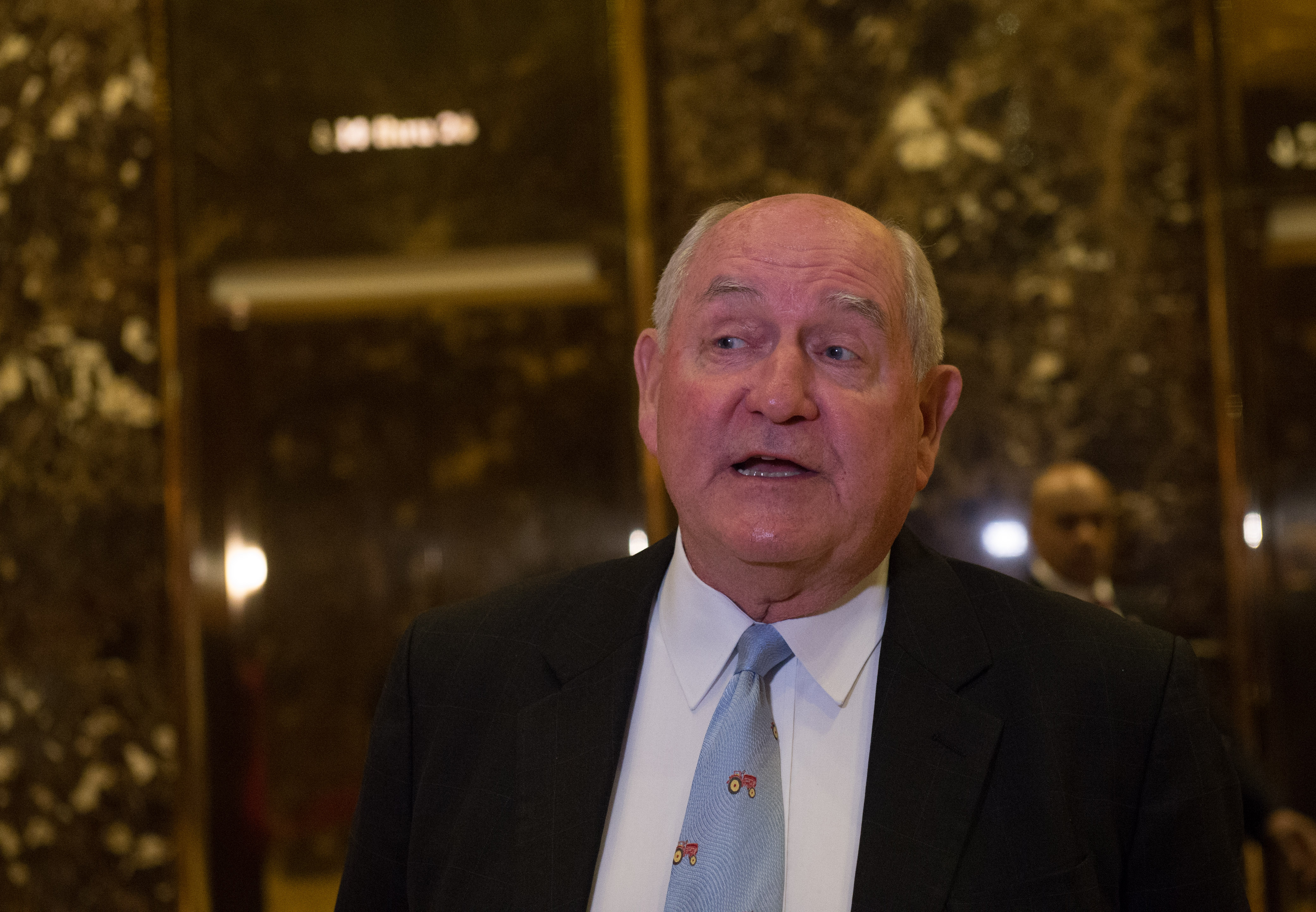 Former Georgia governor Sonny Perdue in the lobby of Trump Tower, in New York City on Nov. 30, 2016.