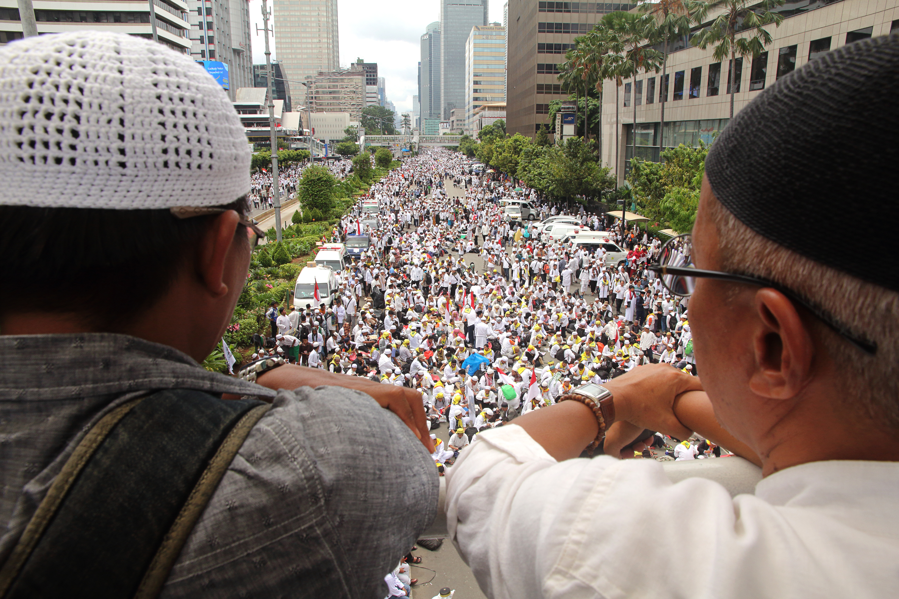 Hundreds of thousands of Indonesian Muslims gather in Jakarta on Dec. 2, 2016, to protest against the city's Christian Governor Basuki Tjahaja Purnama, better known as Ahok