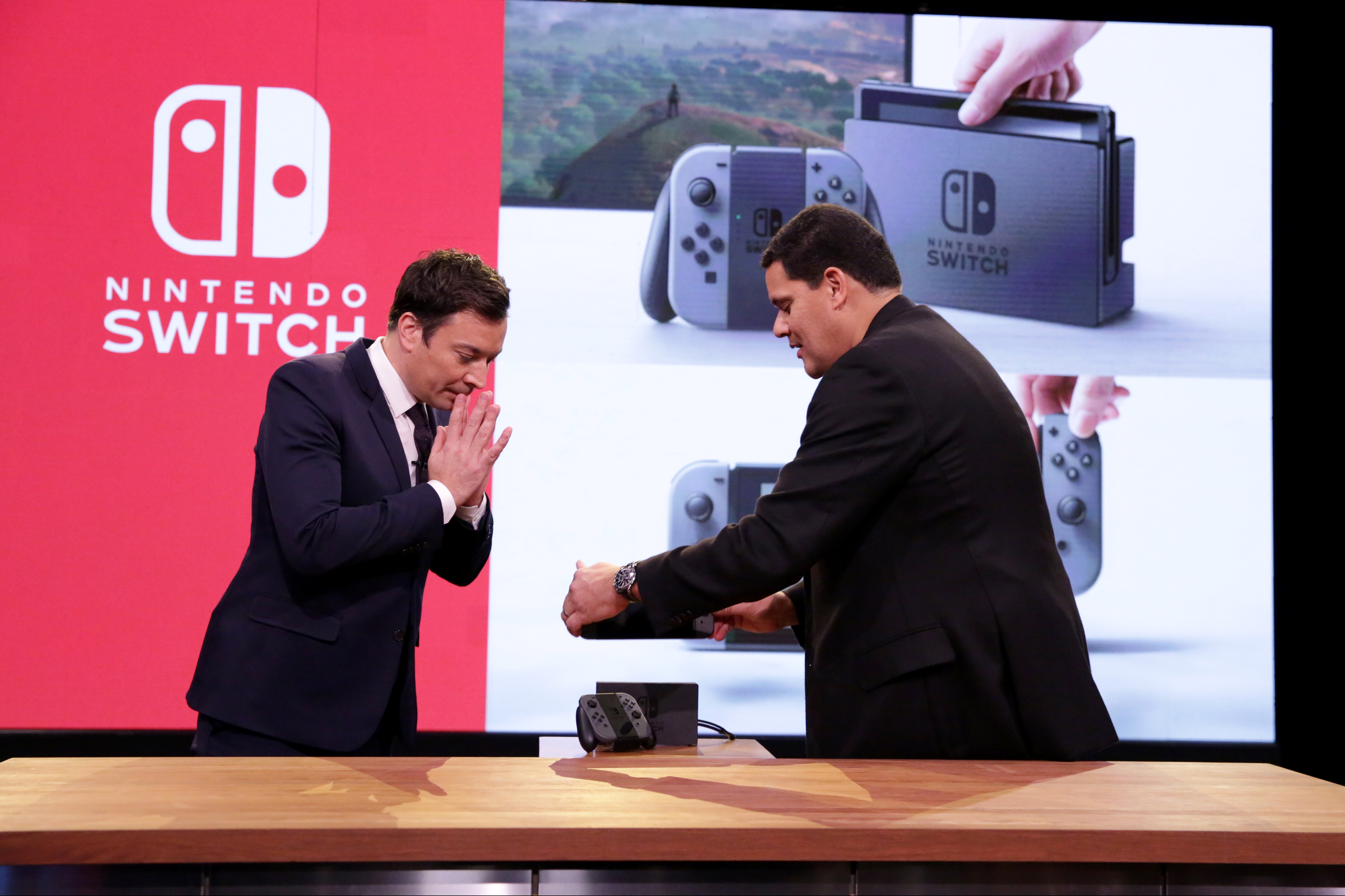 Jimmy Fallon and President of Nintendo America Reggie Fils-Aimé during a Nintendo Switch demonstration on December 07, 2016.