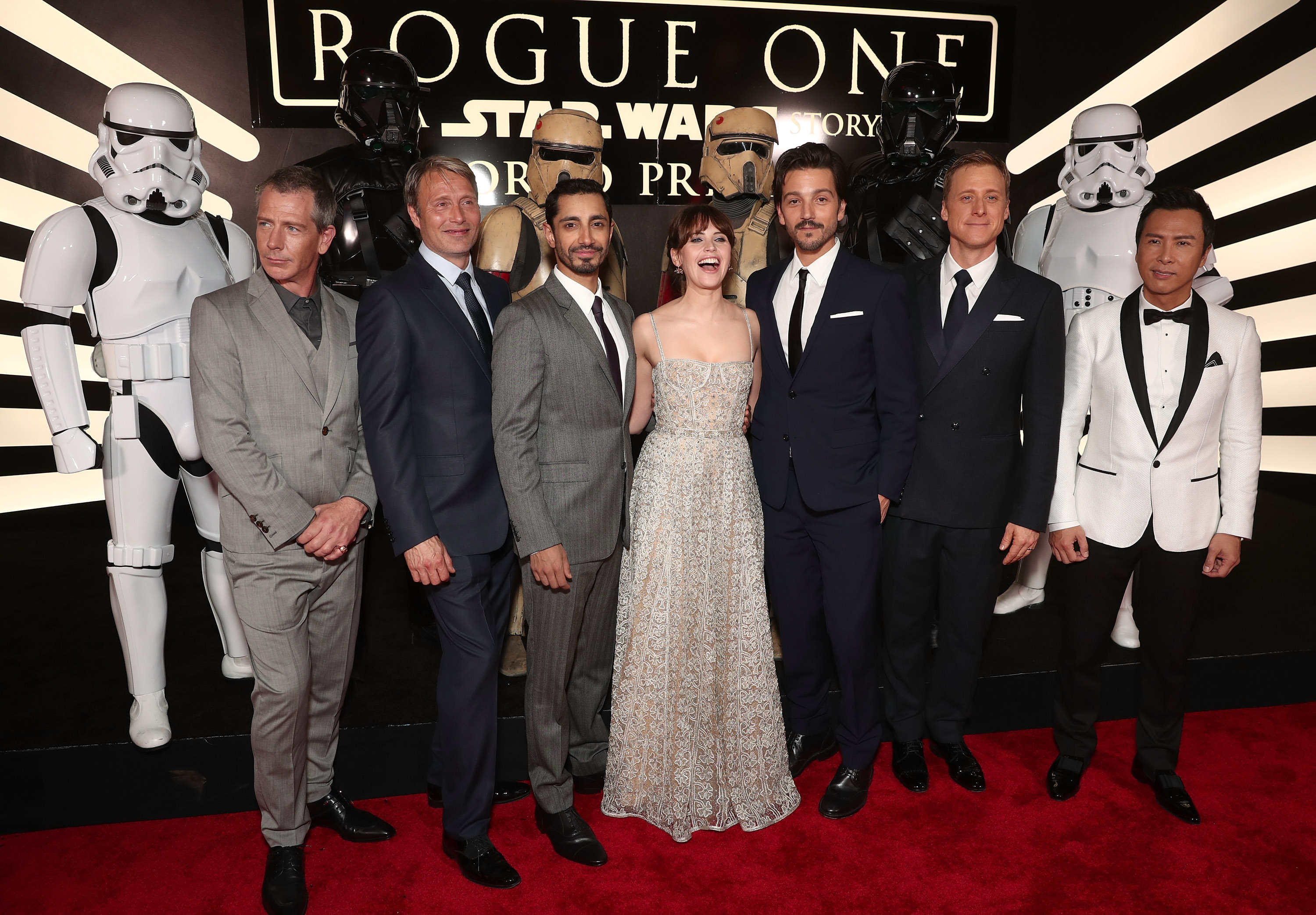 Cast members of 'Rouge One' attend the 'Star Wars' anthology movie's premiere at the Pantages Theatre, Hollywood, Calif., Dec. 10, 2016.