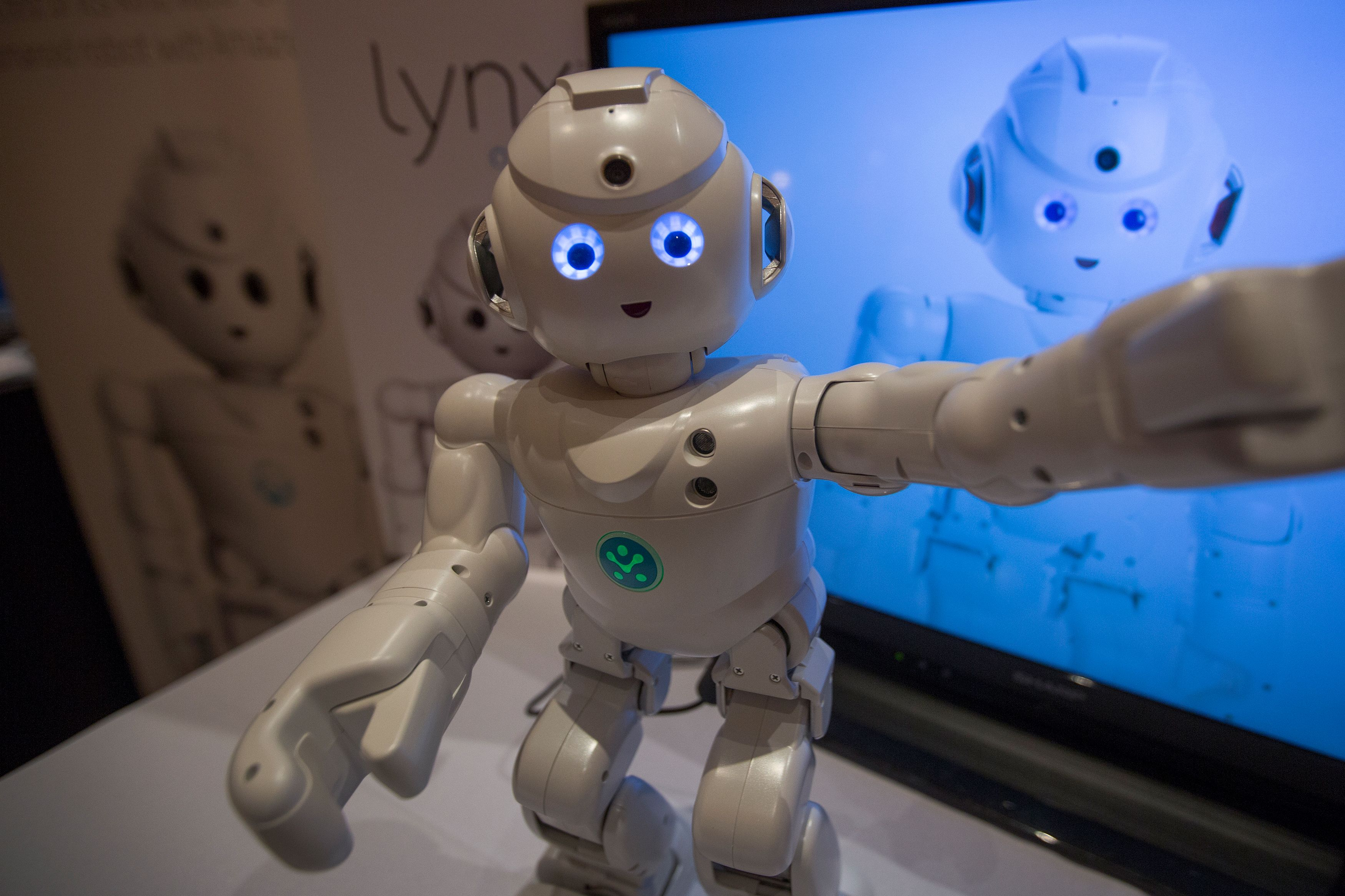 A Lynx robot toy by UBTECH Robotics dances at ShowStoppers during the 2017 Consumer Electronic Show (CES) in Las Vegas, Nevada on January 5, 2017.