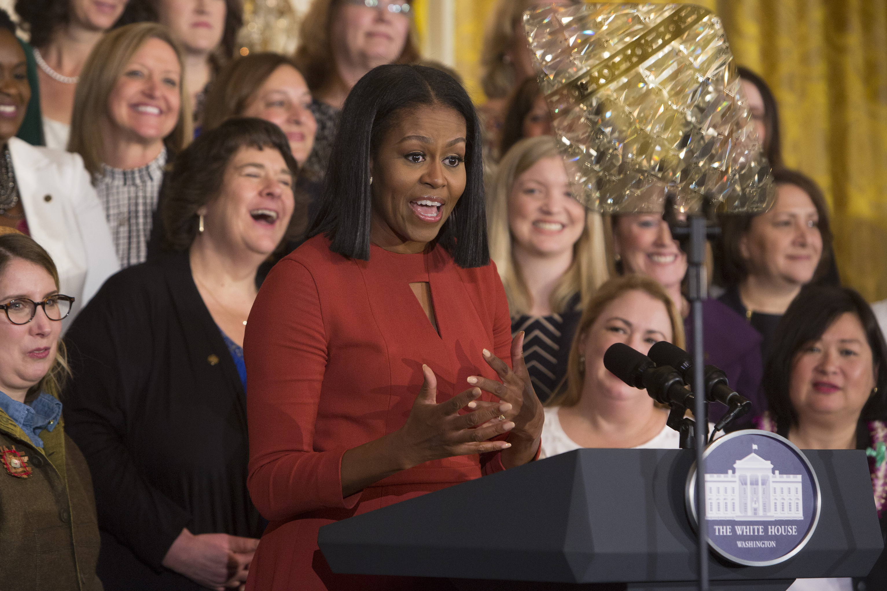 Michelle Obama gives her final remarks as First Lady at the 2017 School Counselor of the Year event at the White House on Jan. 5, 2017.