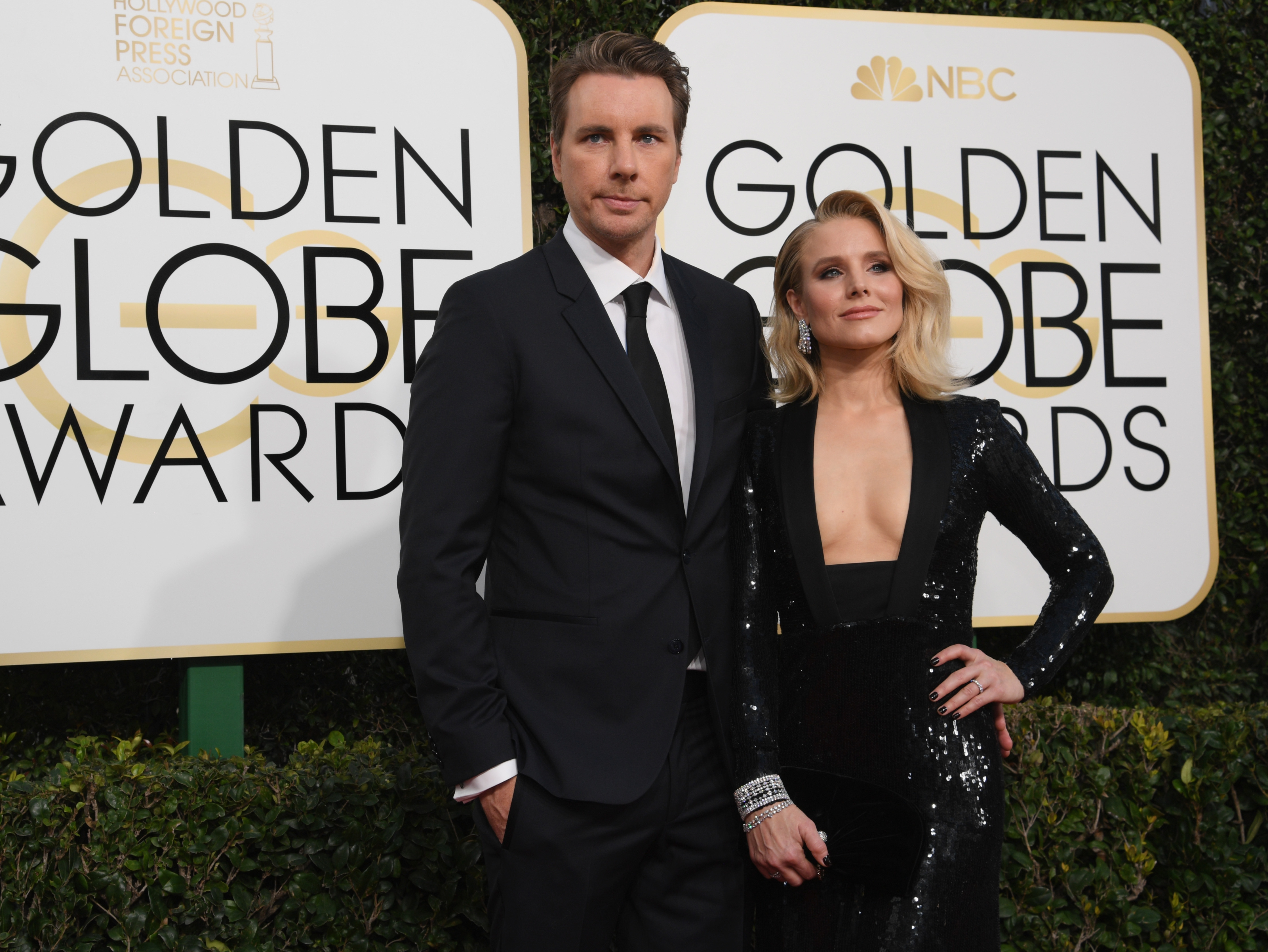 Dax Shepard and Kristen Bell arrive to the 74th Annual Golden Globe Awards, held at the Beverly Hilton Hotel on Jan. 8, 2017.
