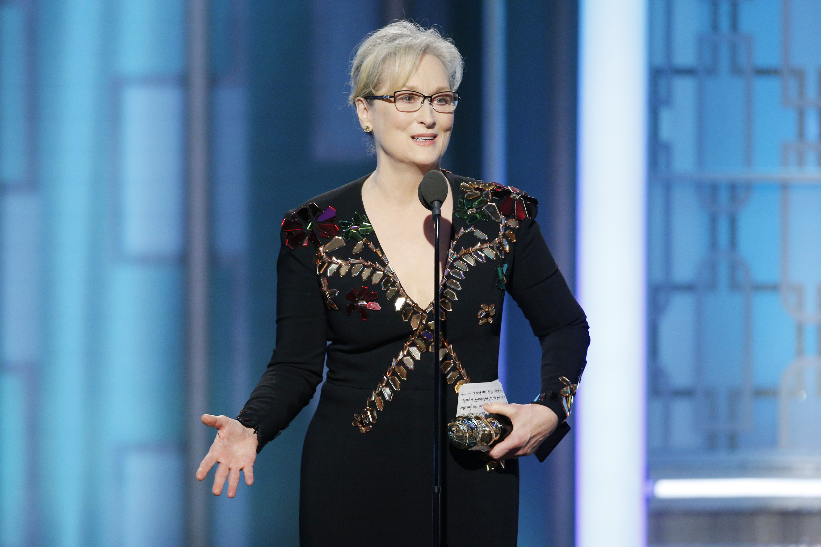 Meryl Streep accepts the Cecil B. DeMille Award during the 74th Annual Golden Globe Awards at The Beverly Hilton Hotel, Jan.8, 2017 in Beverly Hills, Calif.