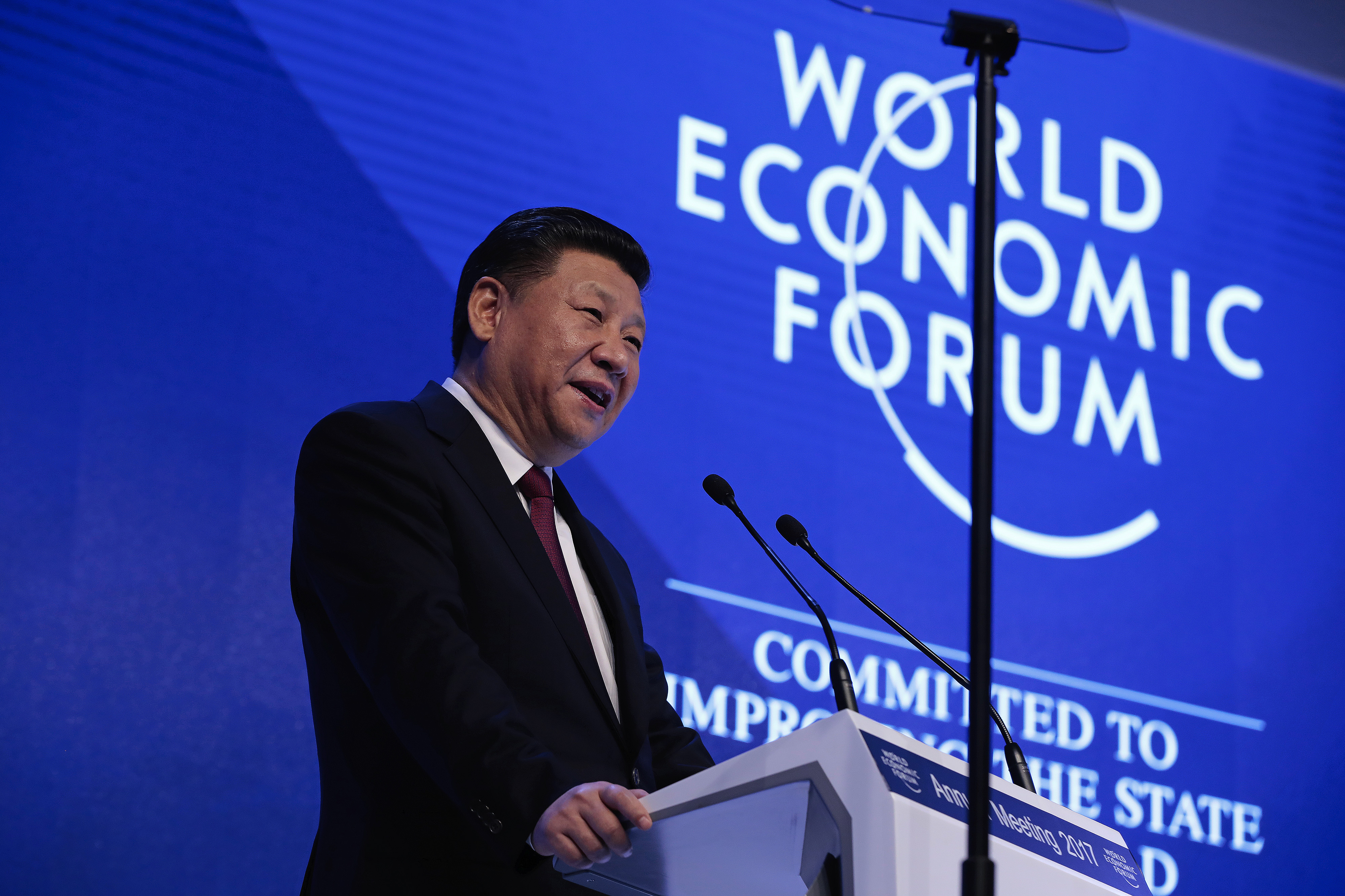 Xi Jinping, China's President, speaks during the opening plenary session of the World Economic Forum annual meeting in Davos, Switzerland, on Tuesday, Jan. 17, 2017
