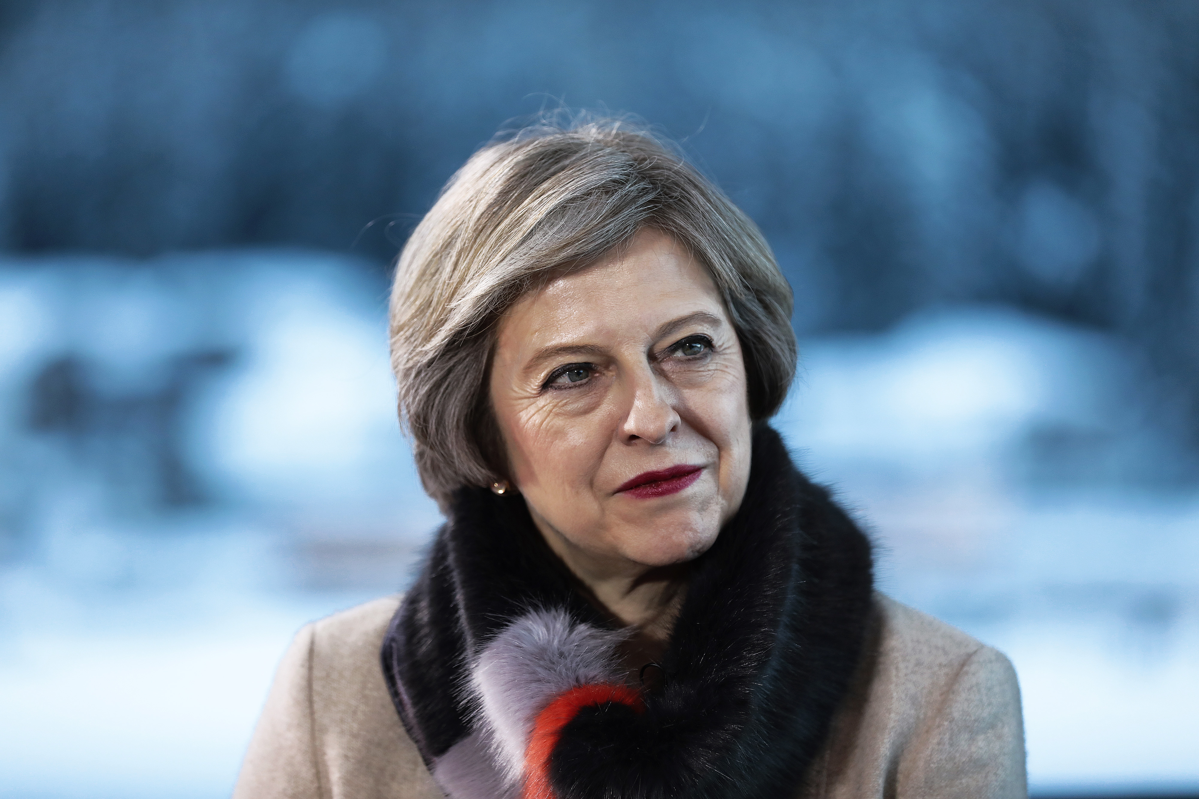 Theresa May, U.K. prime minister, looks on during a Bloomberg Television interview at the World Economic Forum (WEF) in Davos, Switzerland, on Thursday, Jan. 19, 2017.