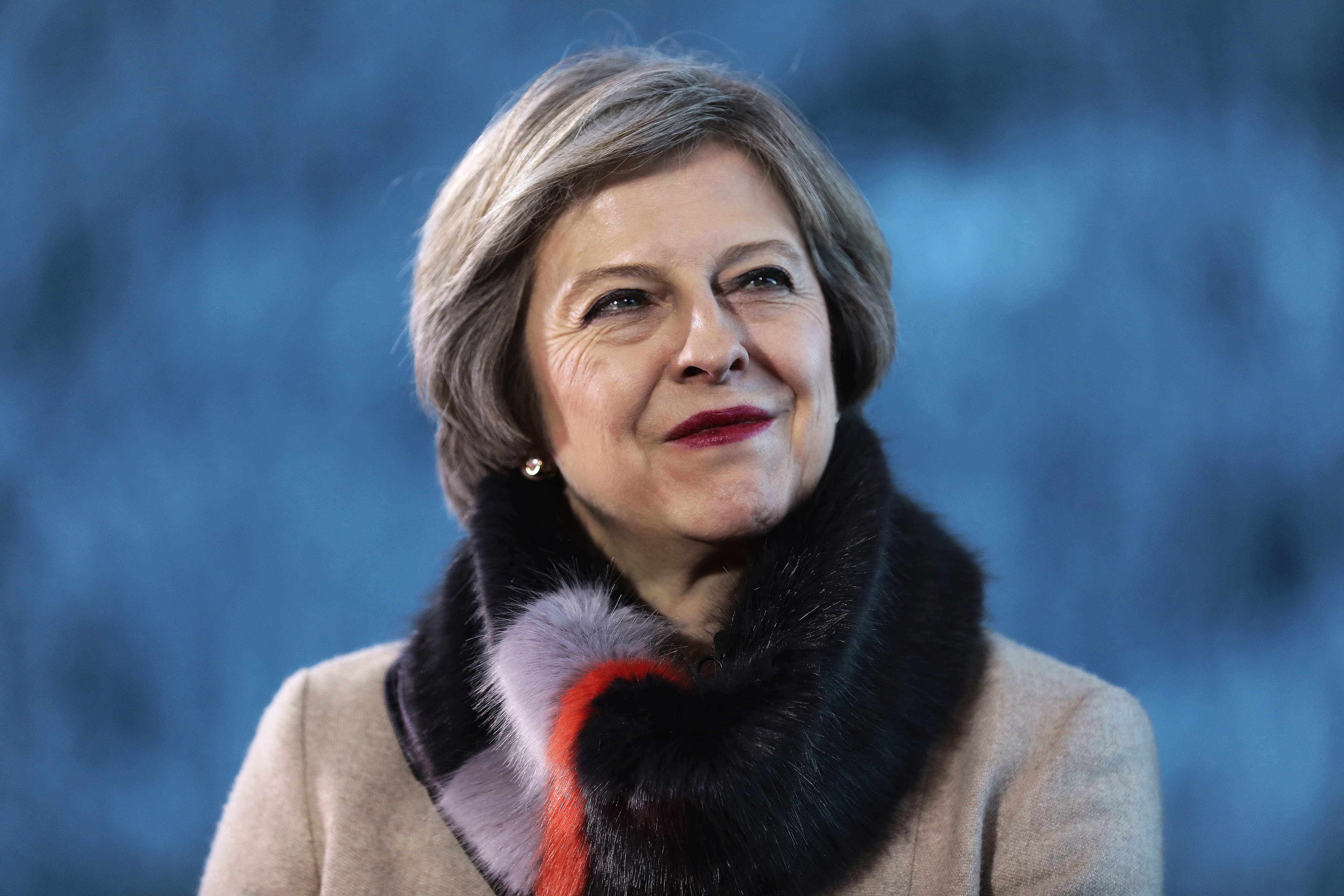 Theresa May, U.K. prime minister, reacts during a Bloomberg Television interview at the World Economic Forum (WEF) in Davos, Switzerland, on Thursday, Jan. 19, 2017. World leaders, influential executives, bankers and policy makers attend the 47th annual meeting of the World Economic Forum in Davos from Jan. 17 - 20.