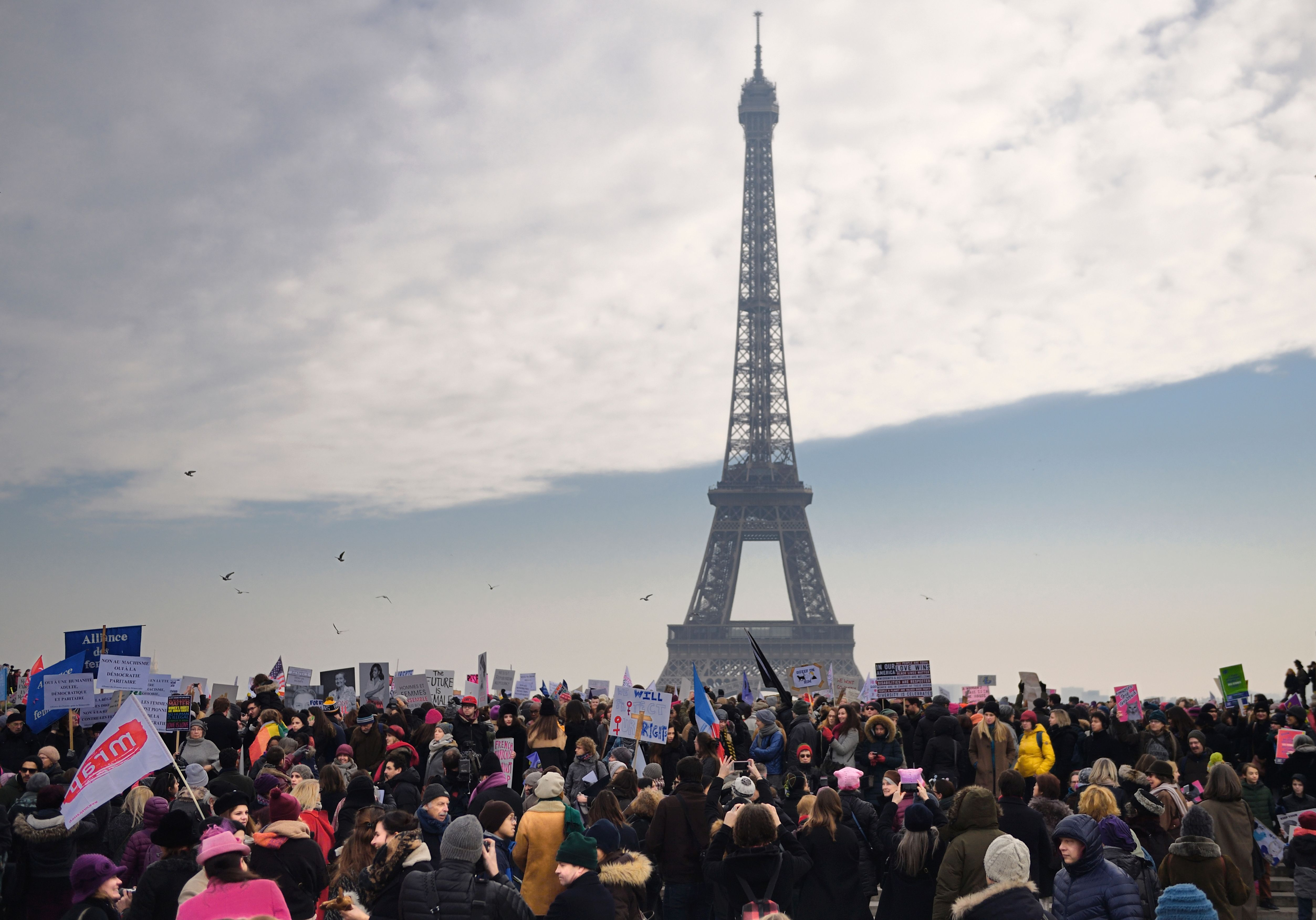 Supporters of the Women's March in Paris, on Jan. 21, 2017.