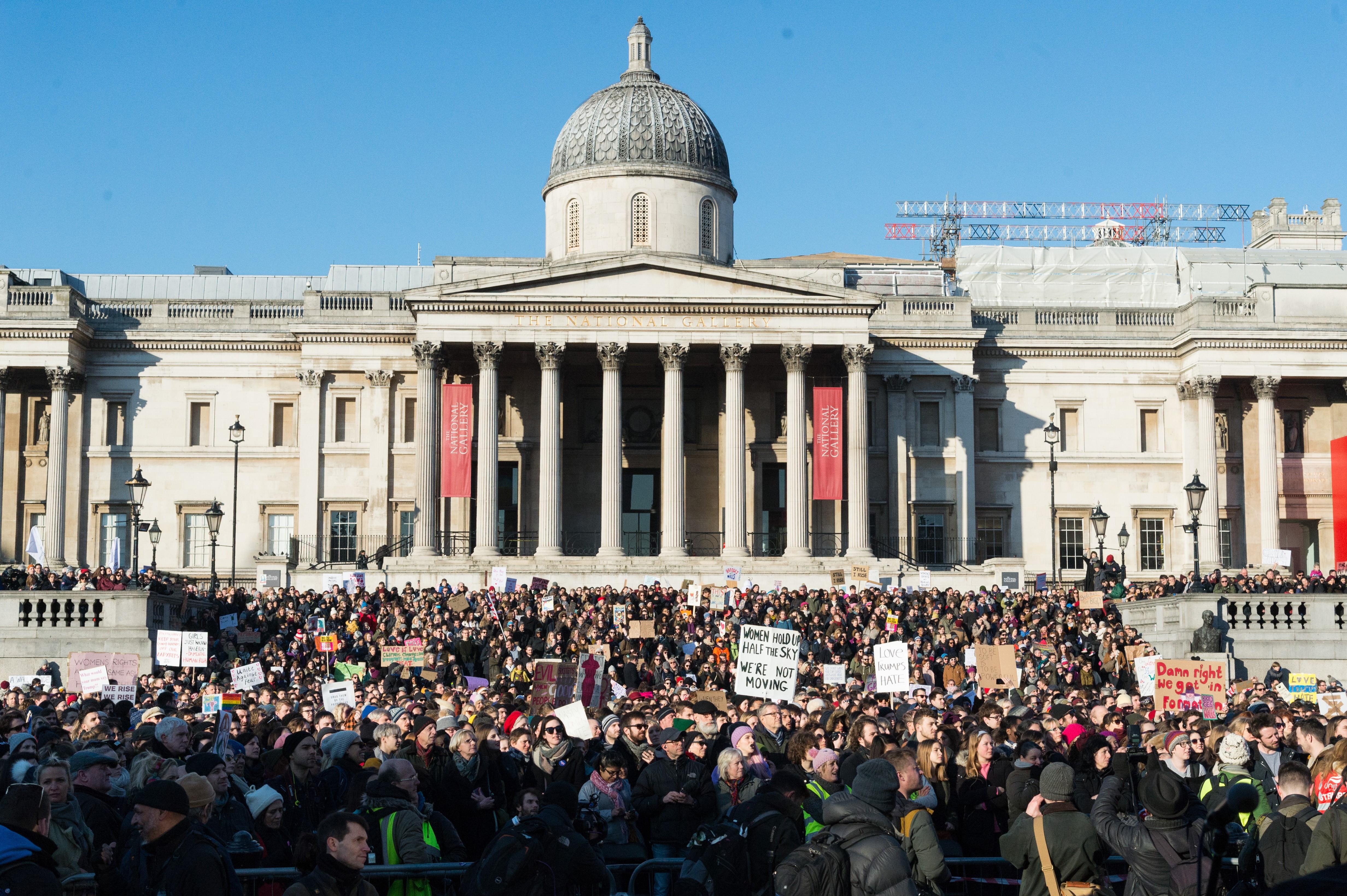 Demonstrators attend the Women's March in London, on Jan. 21, 2017.