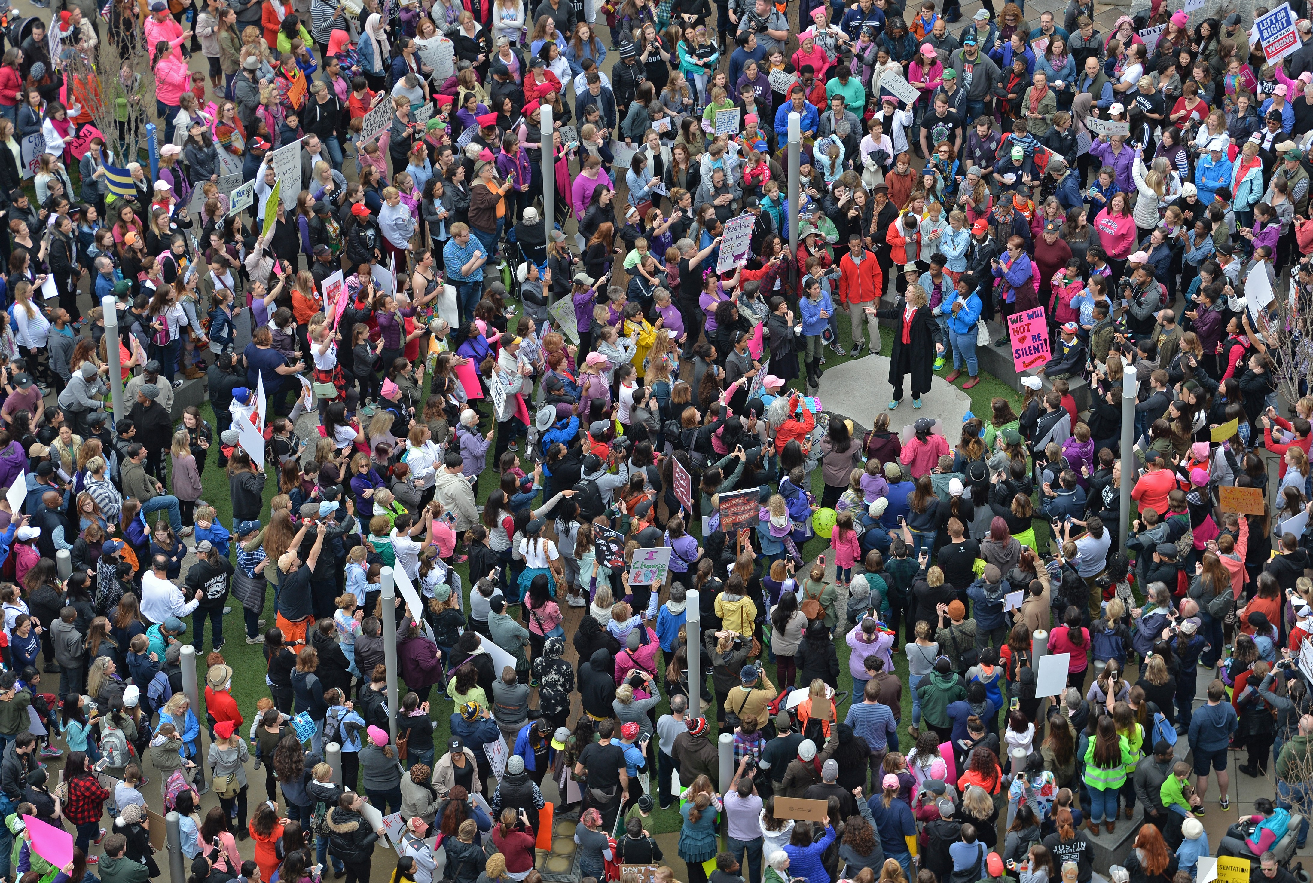 Women's march in Charlotte attended by an estimated 10,000 demonstrators as a sister march to the one in Washington DC while Charlotte mayor Jennifer Roberts speaks, in USA on January 21, 2017. (Peter Zay--Anadolu Agency/Getty Images)