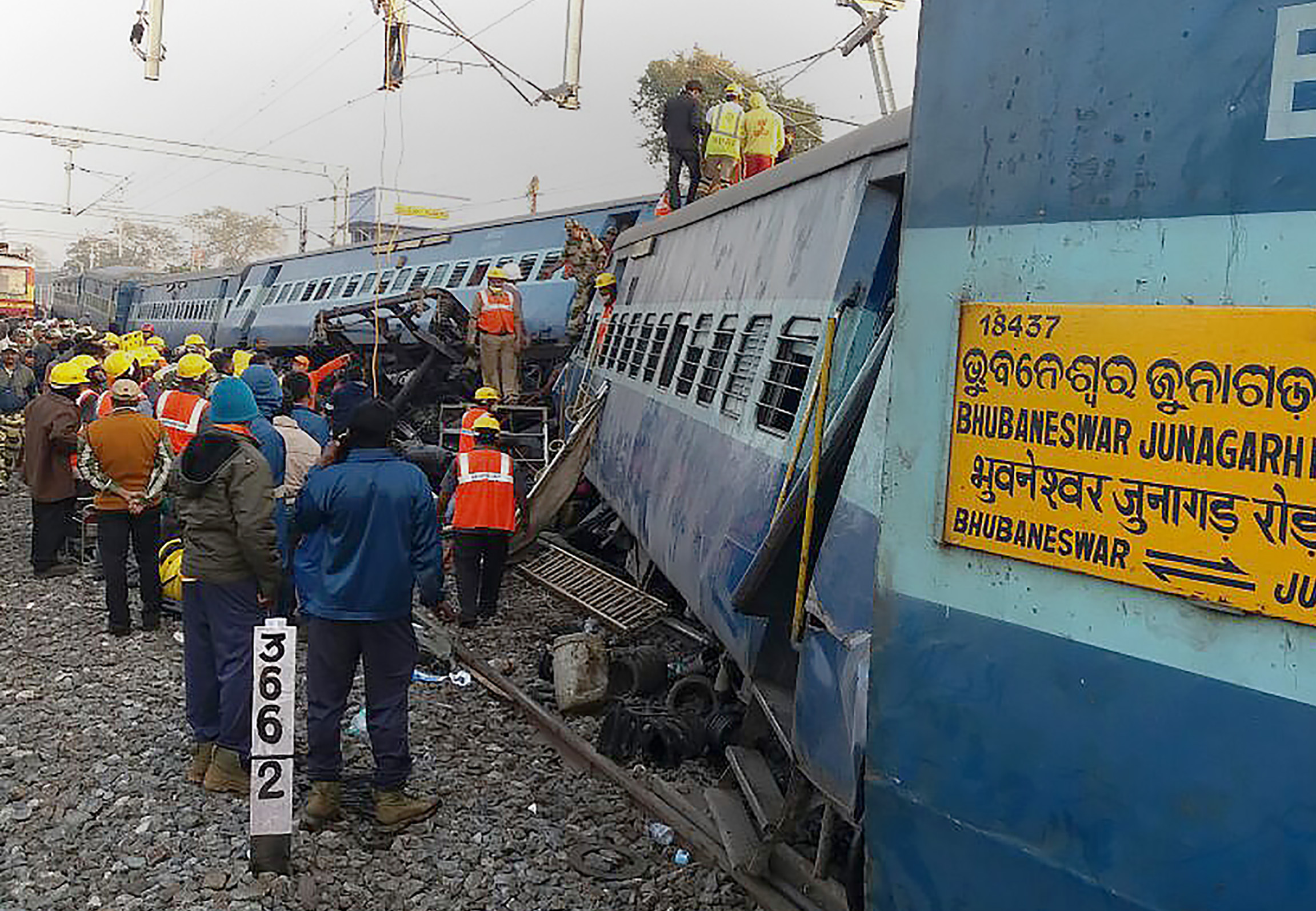 Rescue workers look for survivors at the site of the derailment of the Jagdalpur-Bhubaneswar express train near Kuneru station in southern Andhra Pradesh state on Jan. 22, 2017.