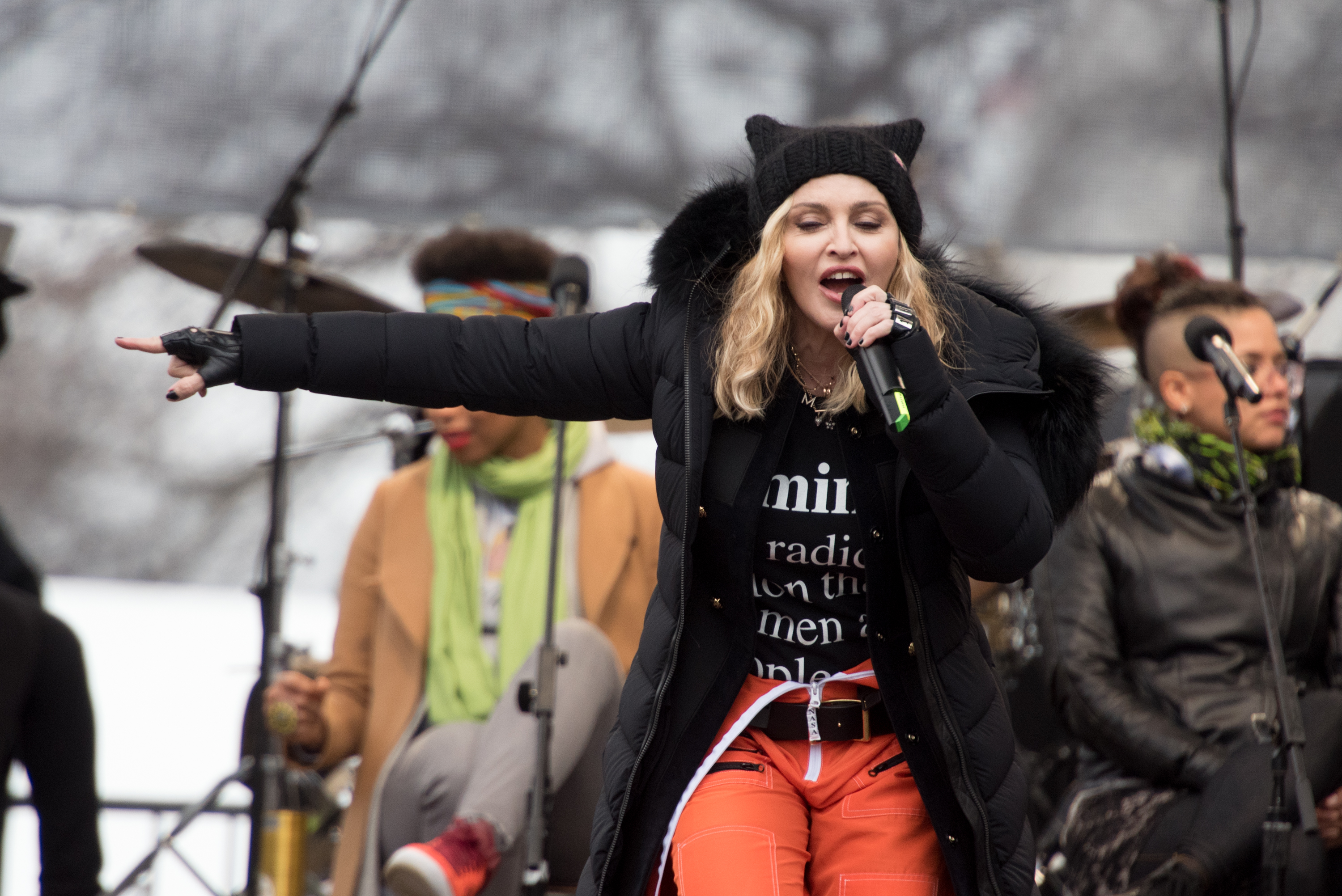 Madonna attends the Women's March on Washington in Washington, on Jan. 21, 2017.