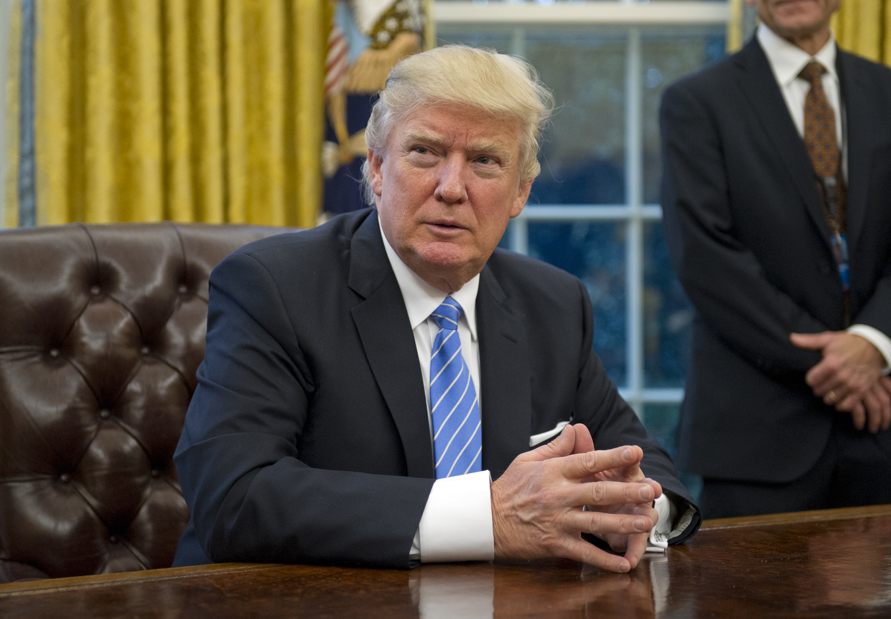President Donald Trump in the Oval Office of the White House in Washington, D.C. on January 23, 2017.