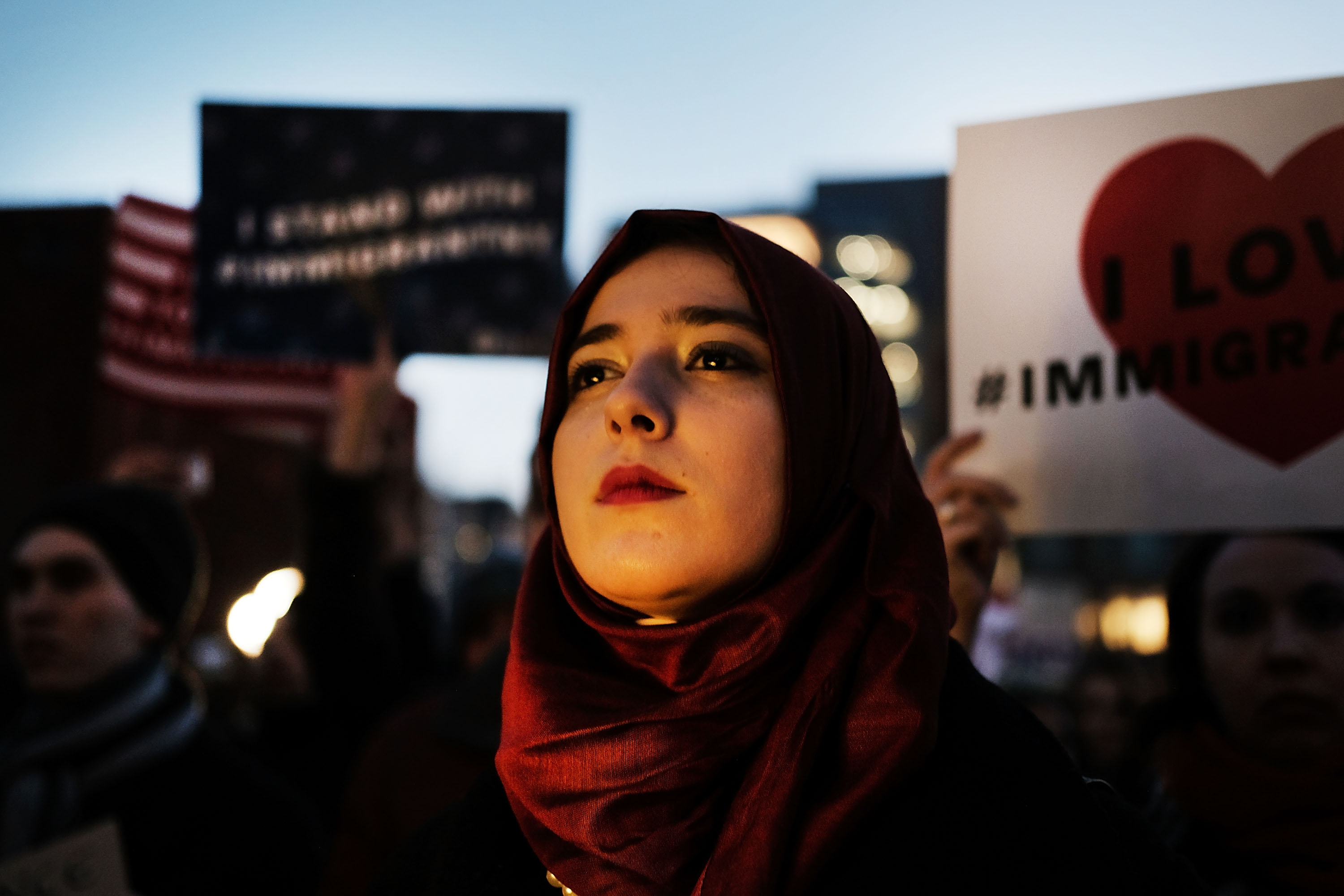 Hundreds of people attend an evening rally at Washington Square Park in support of Muslims, immigrants and against the building of a wall along the Mexican border on January 25, 2017 in New York City.   (Spencer Platt--Getty Images)