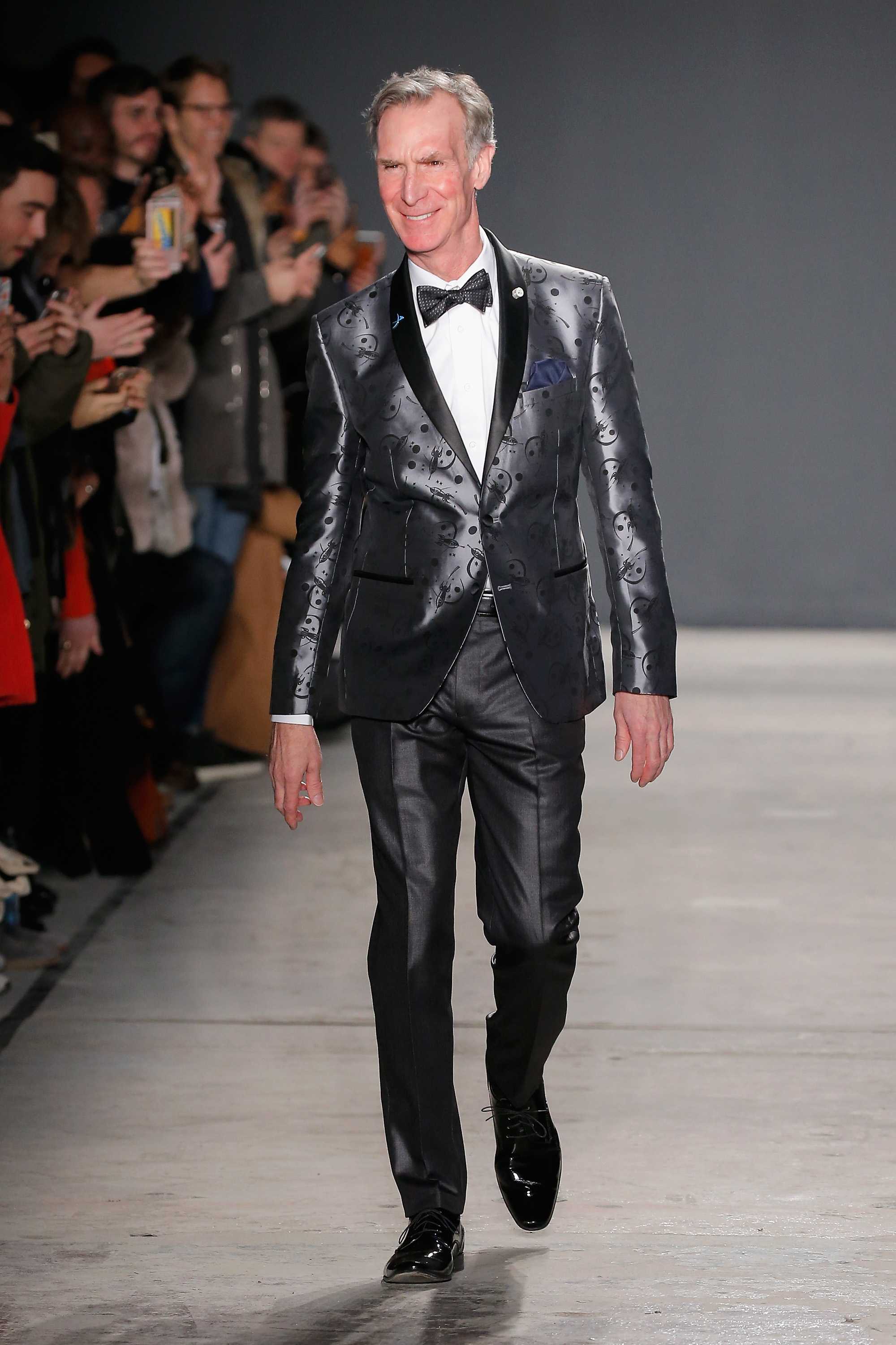 Bill Nye walks the runway at the Nick Graham NYFW Men's F/W '17 show on January 31, 2017 in New York City.