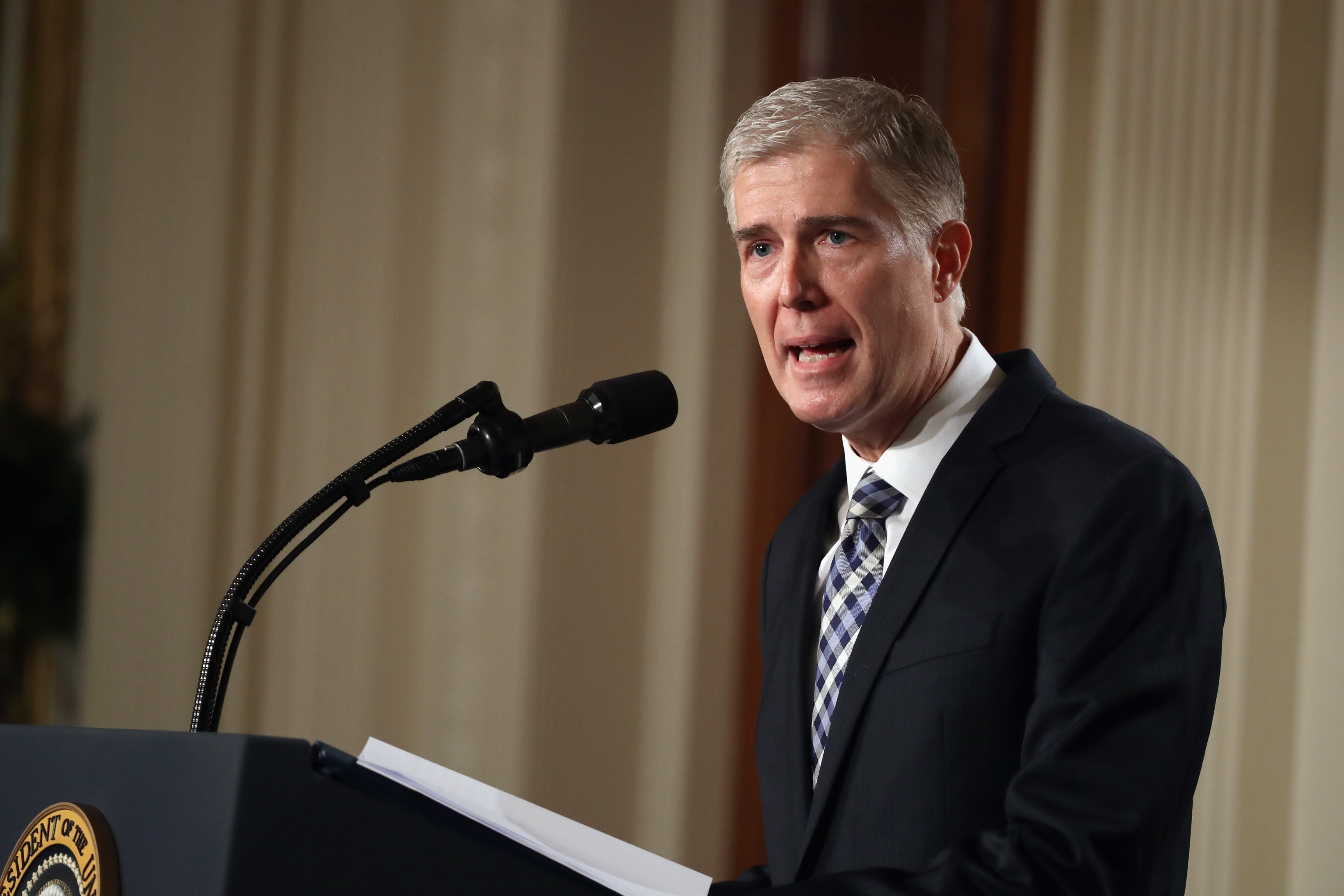 Judge Neil Gorsuch delivers brief remarks after being nominated by U.S. President Donald Trump to the Supreme Court, on Jan. 31, 2017.