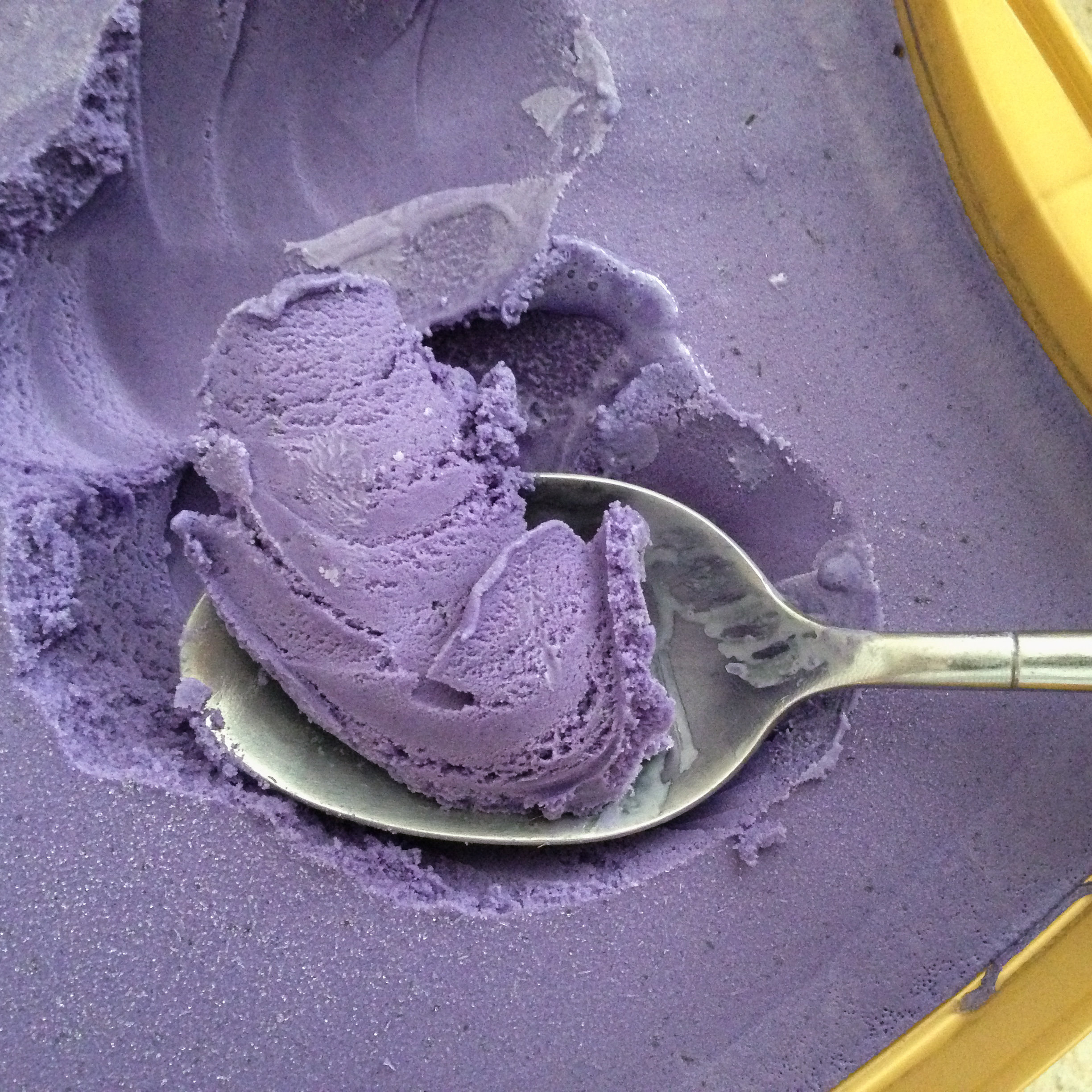 Filipino ube ice cream is made with purple yam.