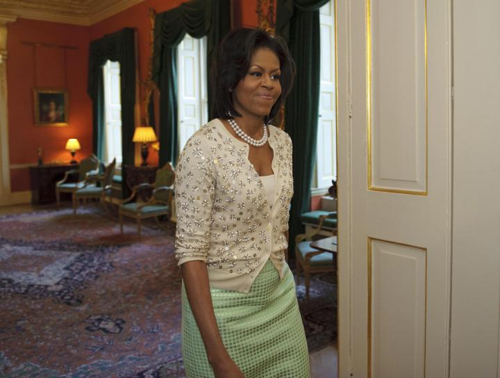 US First Lady Michelle Obama walks into